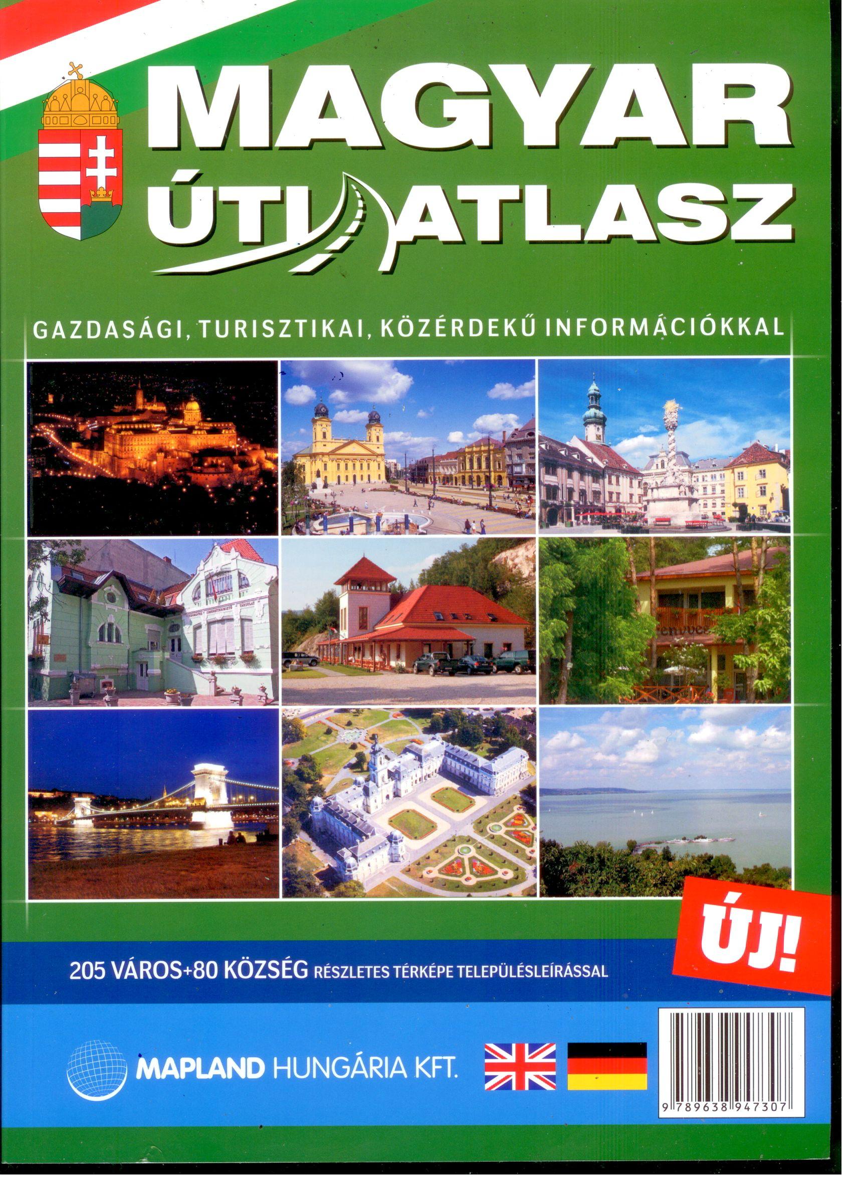 Magyarország autóatlasza 1:200.000 + Budapest és 285 helyiség térképe 1:20.000. A4 formátum, ragasztó kötés, 500 oldal (2,2 kg)