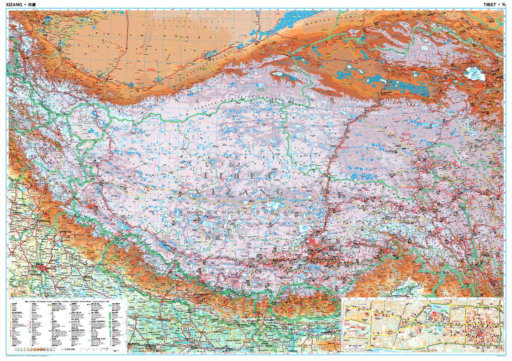 A Tibet térkép által lefedett terület