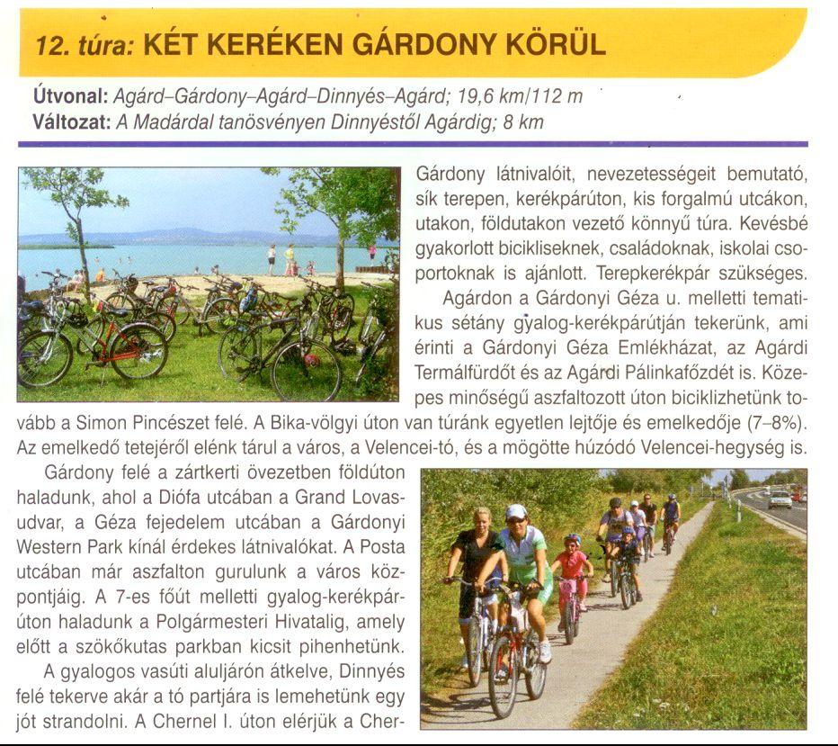 Velencei-tó biciklis tékép túrajavaslat minta