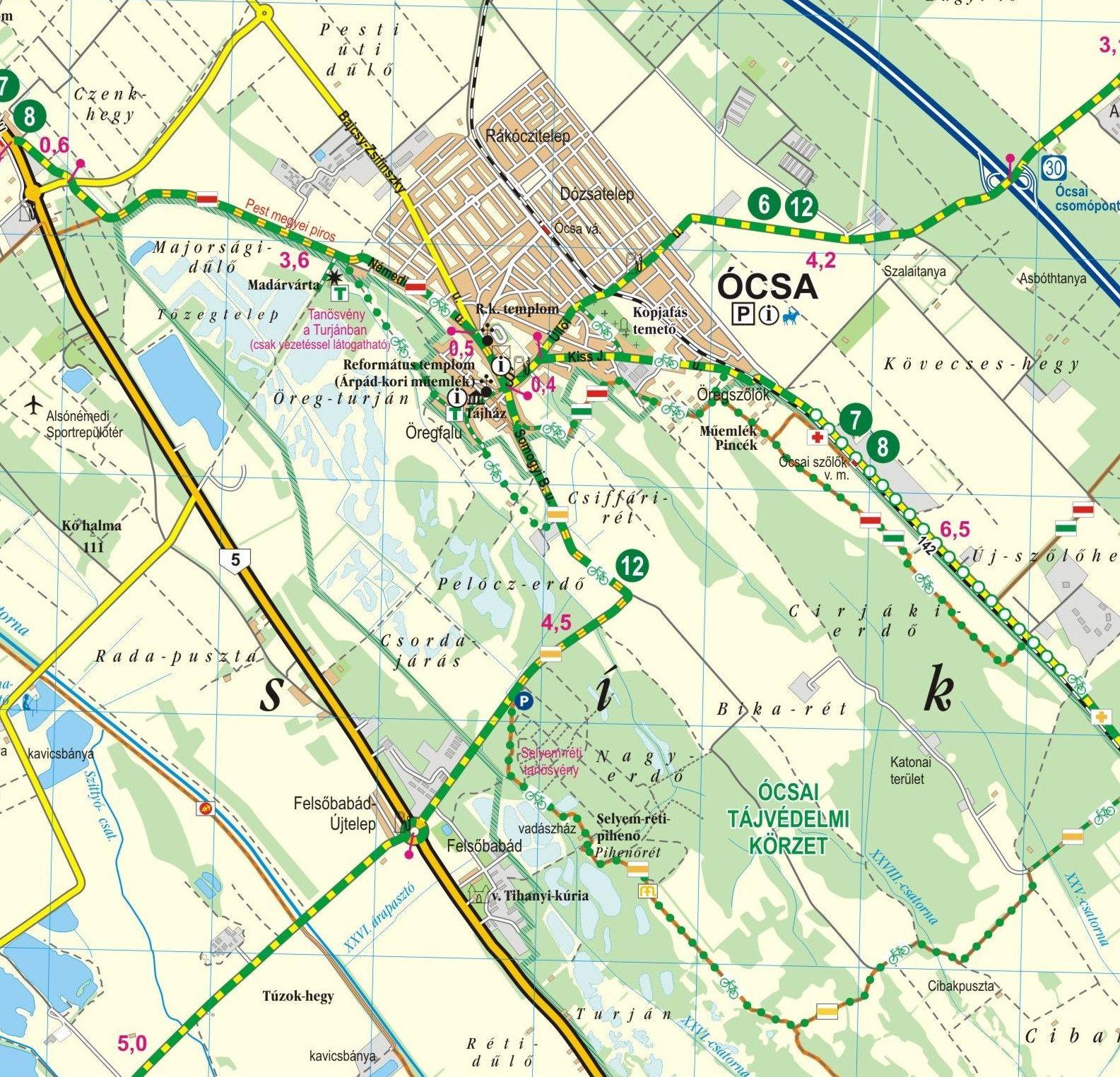 Budapesttől délre biciklis térkép minta