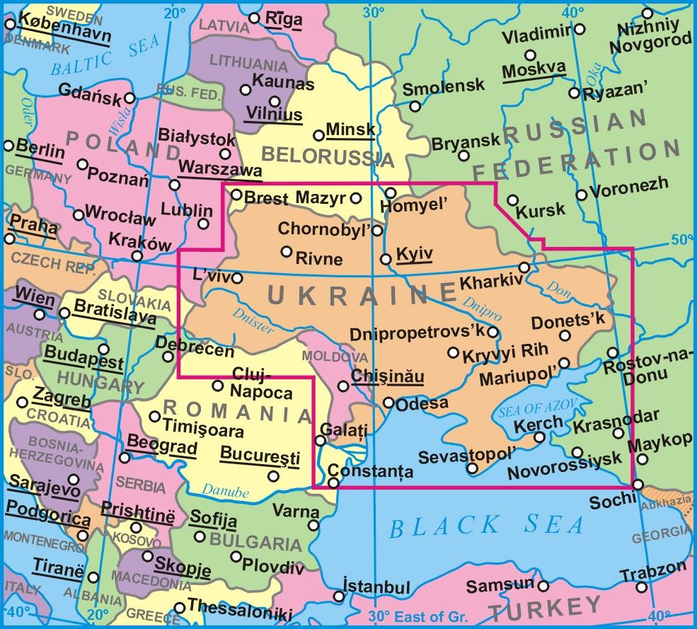 Ukrajna helye a térképen