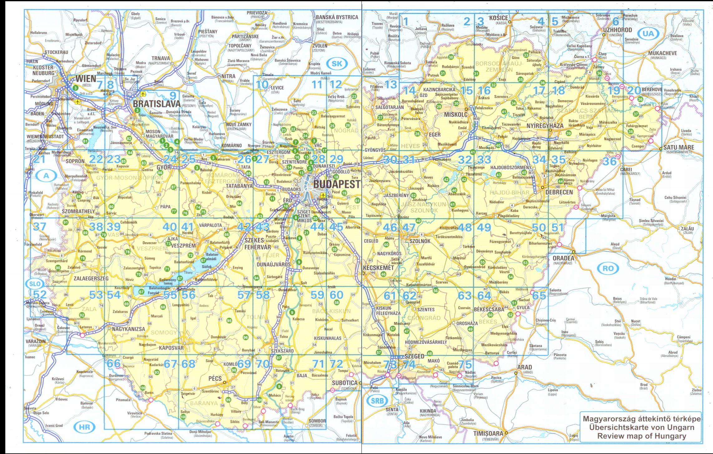Magyarország biciklis atlasza: a térképlapok beosztása