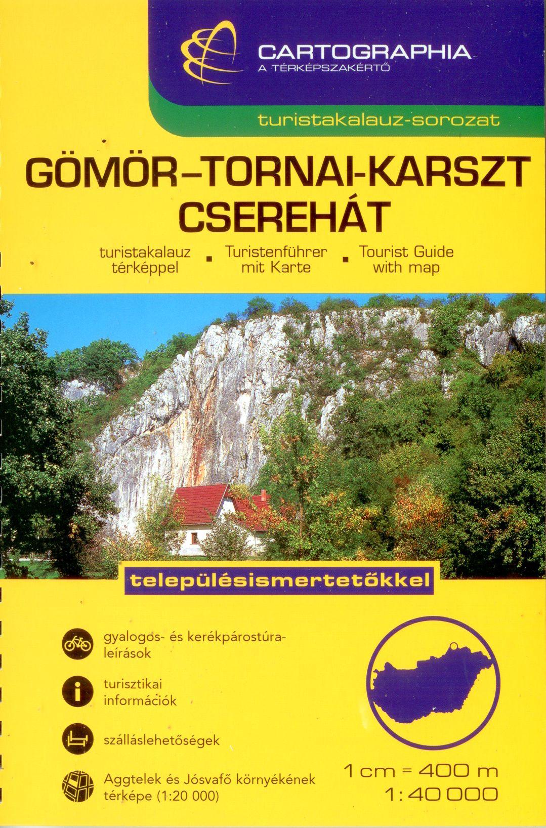 A turistatérképek mellett részletes túraleírásokat is tartalmazó útikönyv jellegű kiadvány. Aggtelek-Jósvafő környékének melléktérképével 1:20.000
