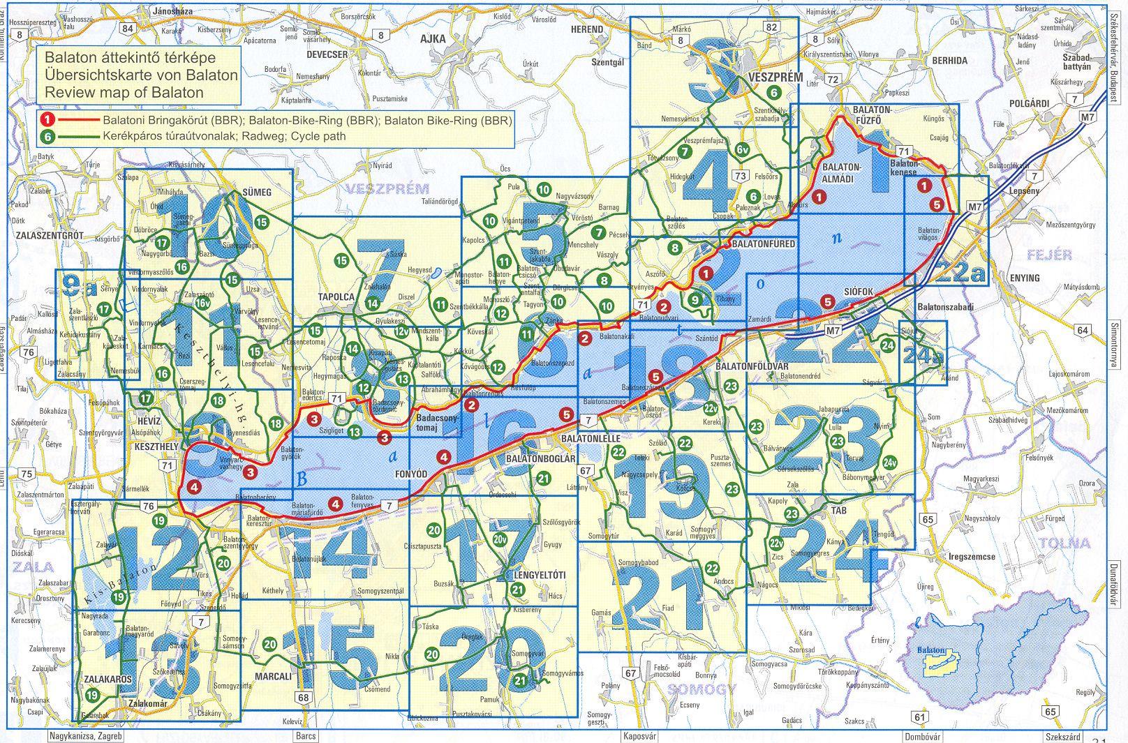 Balaton biciklis atlasz: a térképes oldalak beosztása