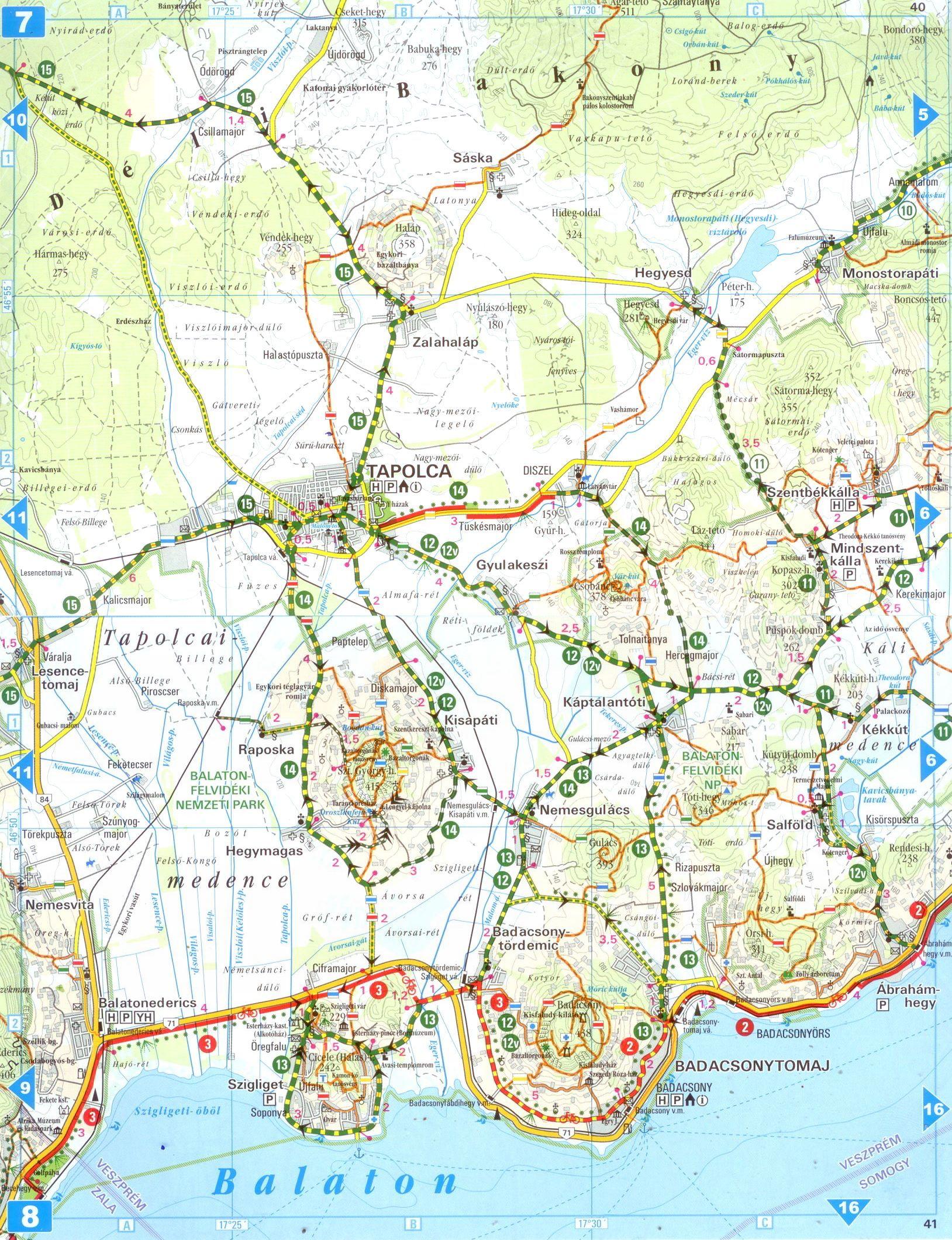Balaton biciklis atlasz mintatérkép 1:80.000