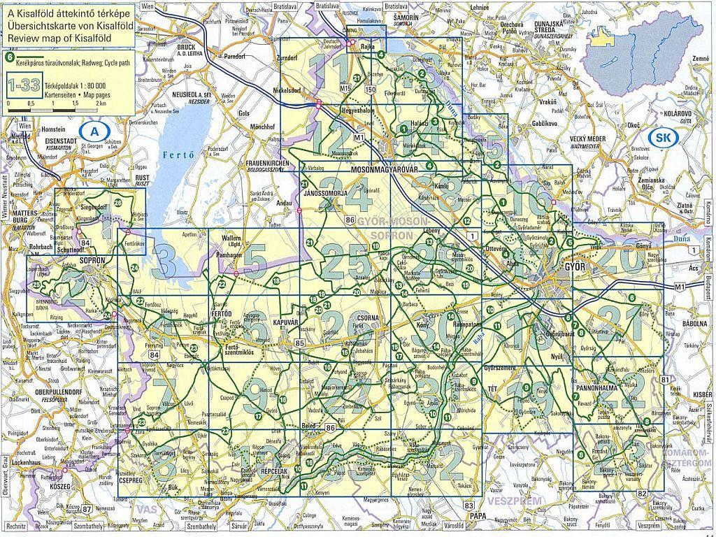 Kisalföld biciklis atlasz oldalbeosztás