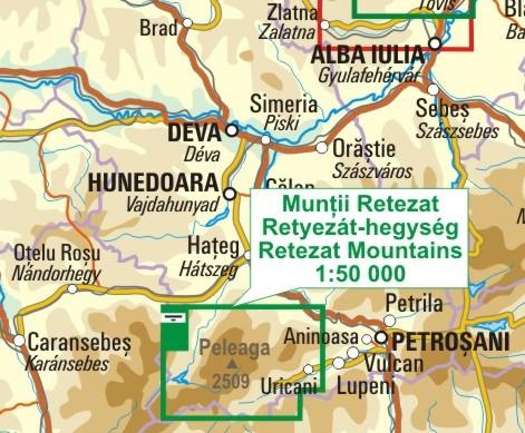 A Retyezát térkép környezete itt látható