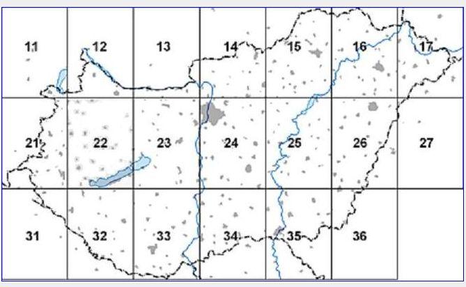Helikopter térkép: szelvénybeosztás