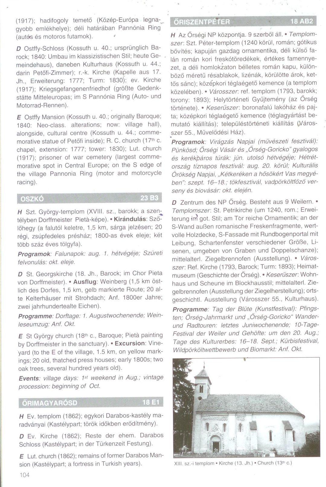 Őrség, Alpokalja biciklis atlasz szöveges oldal mintája