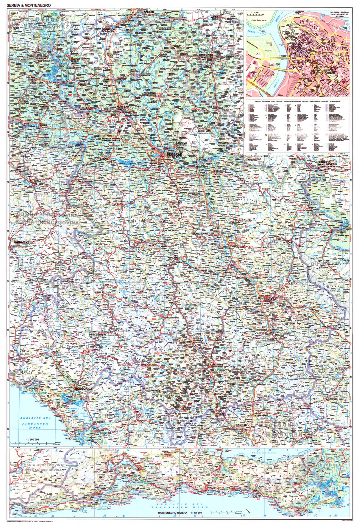 Szerbia-Koszovó-Montenegró áttekintő térképe