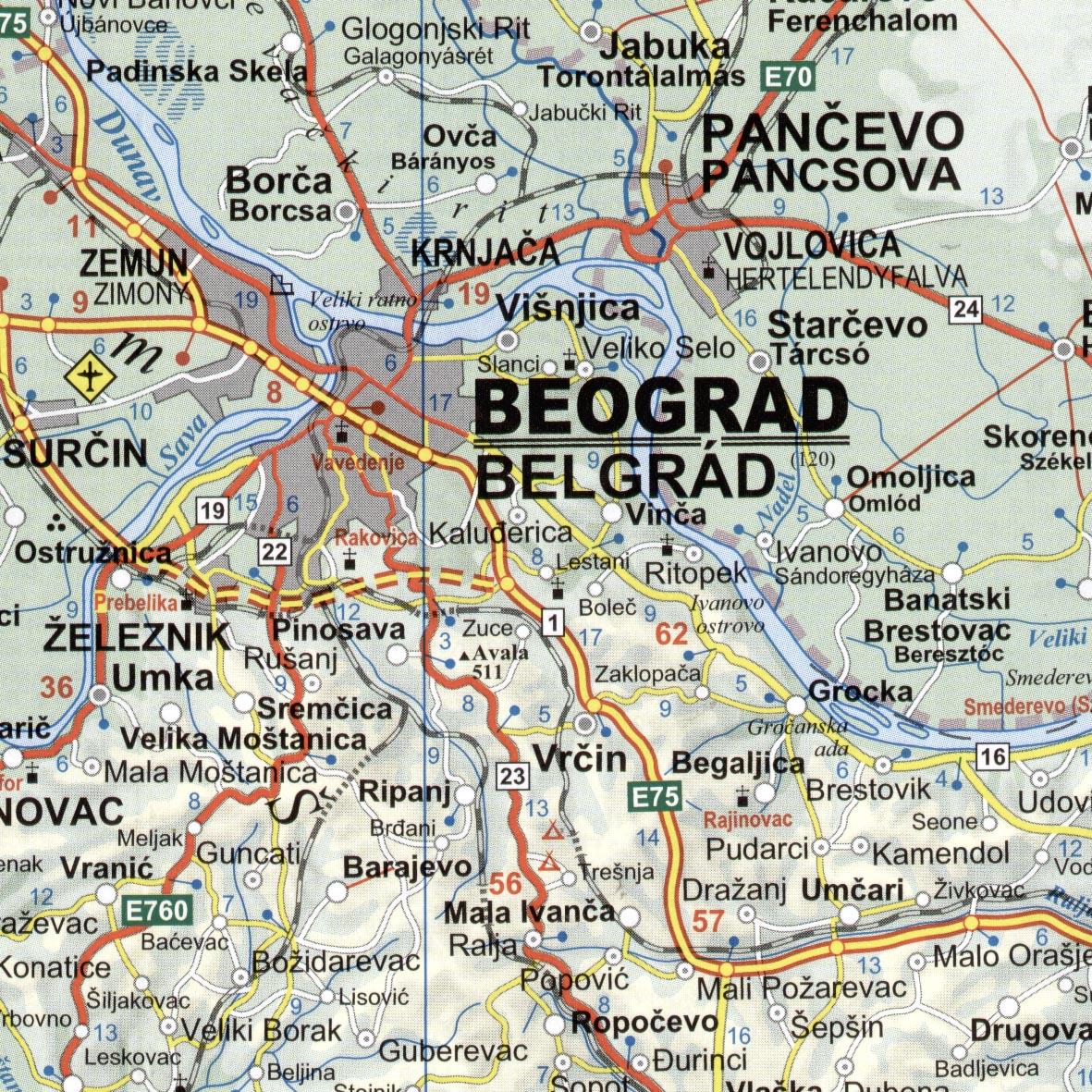 Szerbia-Koszovó-Montenegro mintakivágata