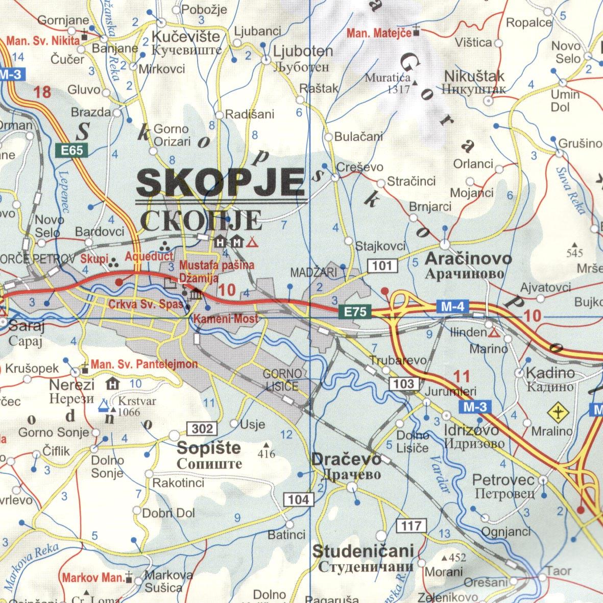 Macedónia autótérkép mintakivágat