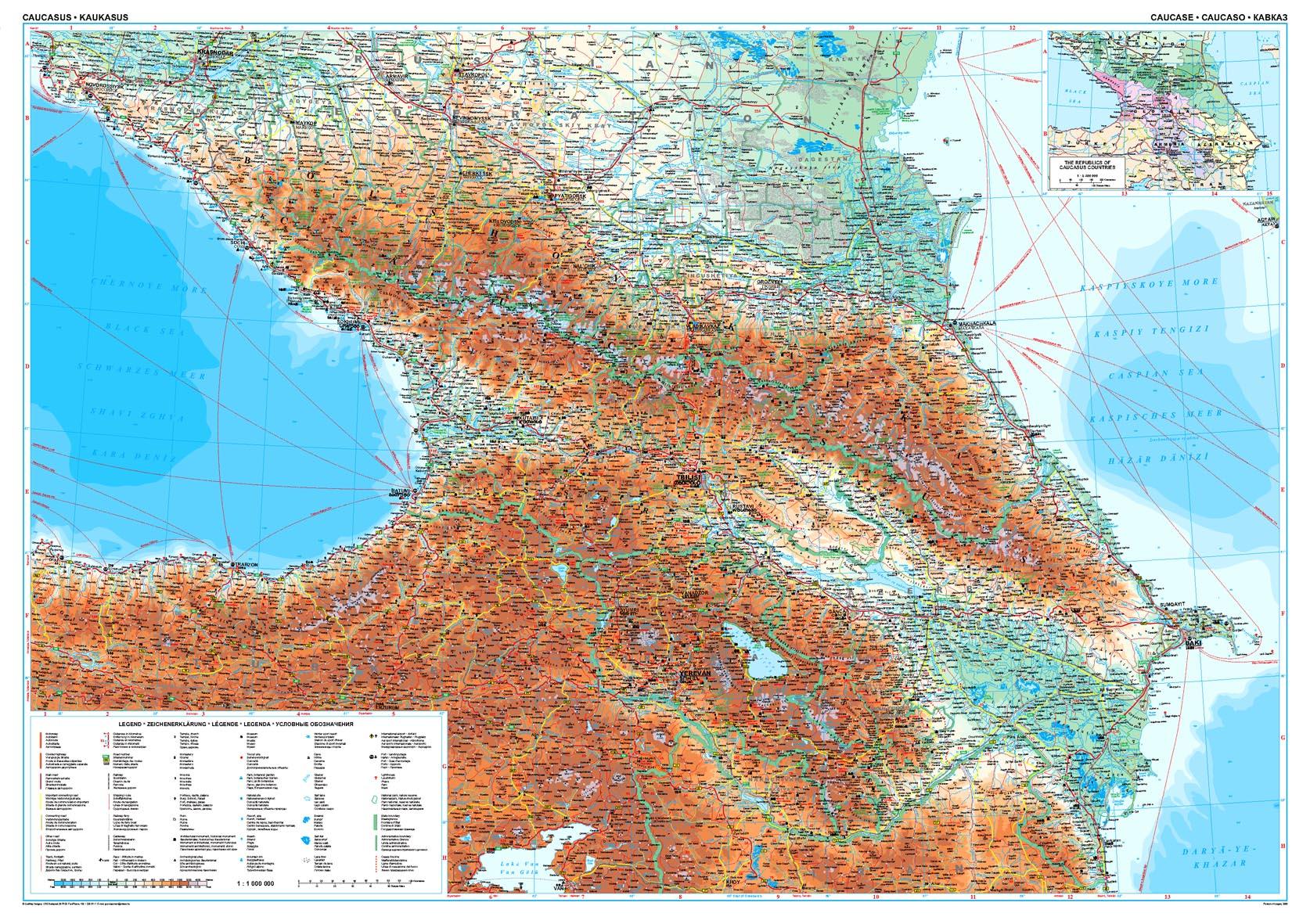 A Kaukázus térkép által lefedett terület
