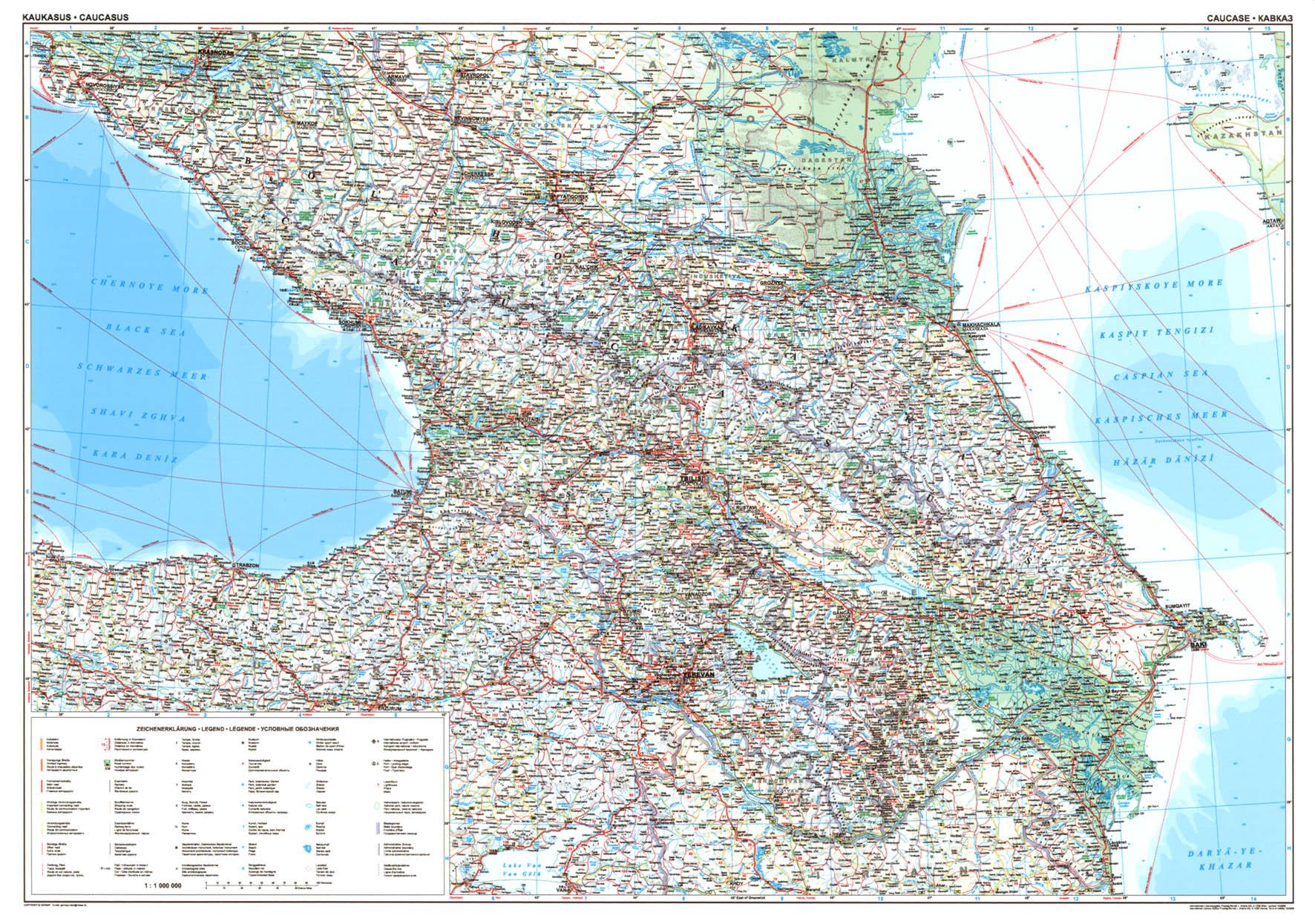 A Kaukázus autótérkép által lefedett terület