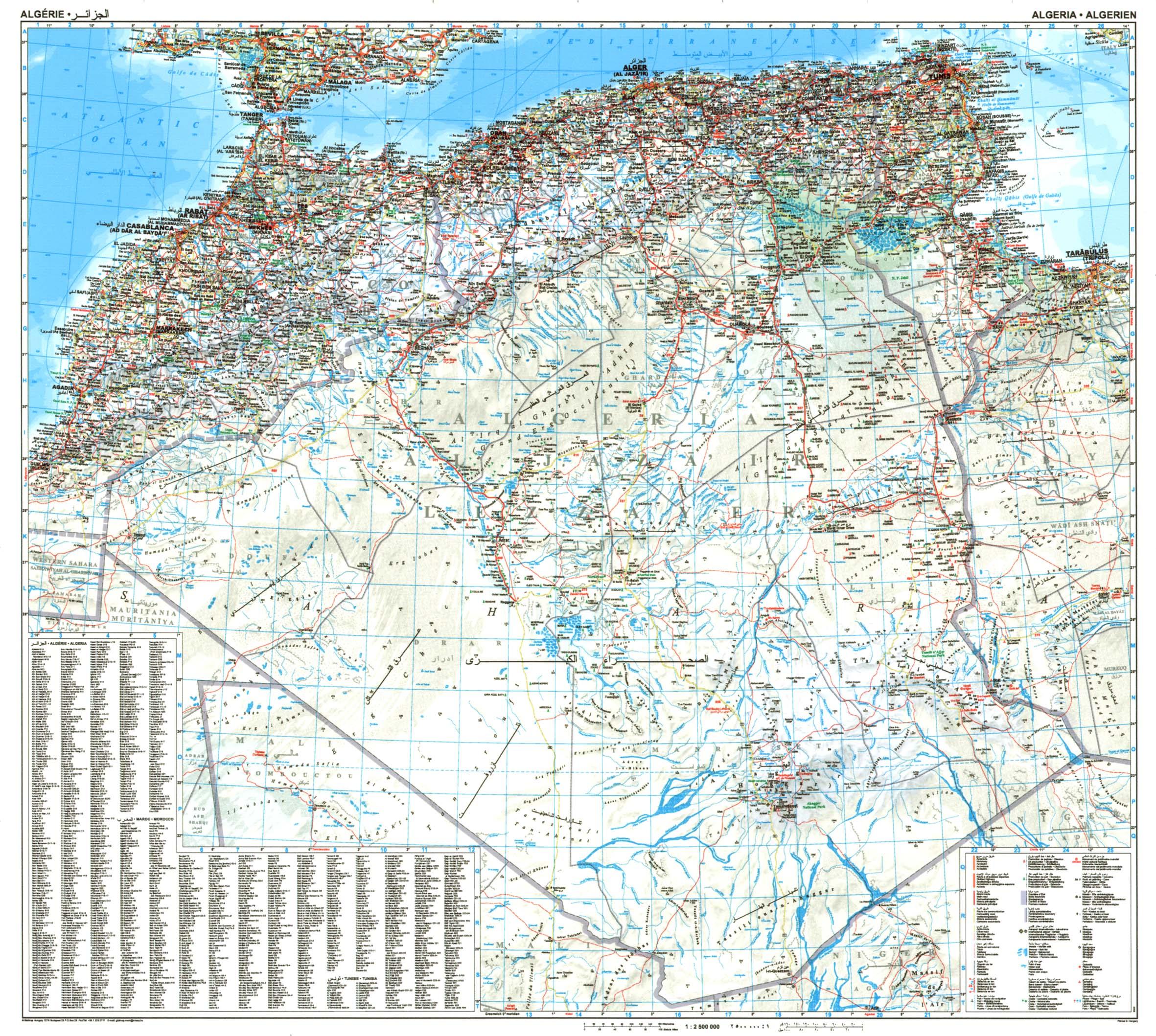 Algéria: áttekintõ térkép