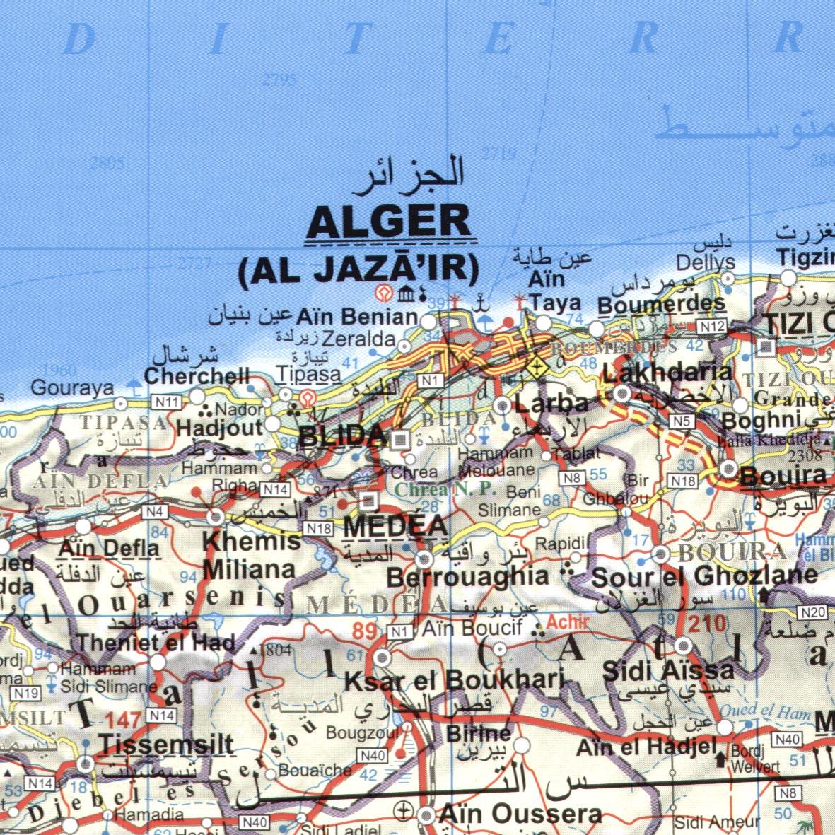 Algéria: minta térkép
