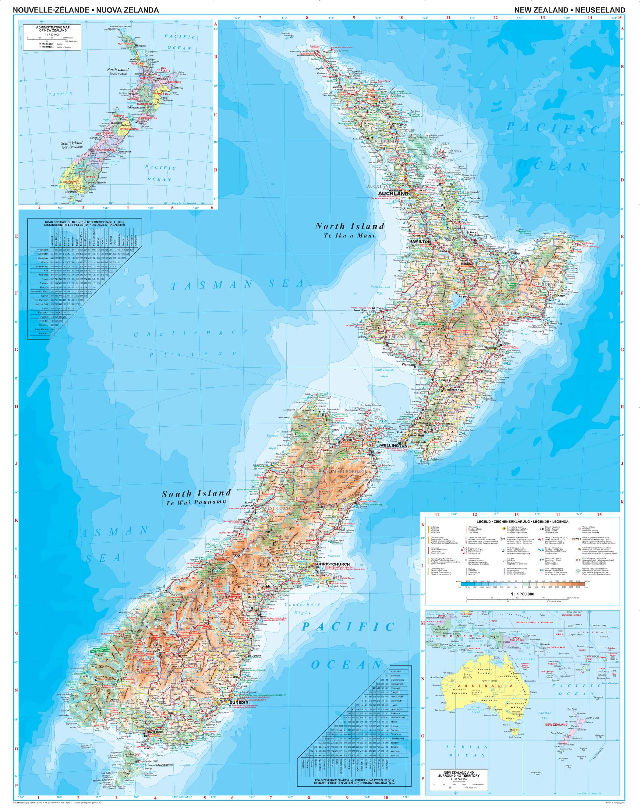 Új-Zéland: áttekintõ térkép