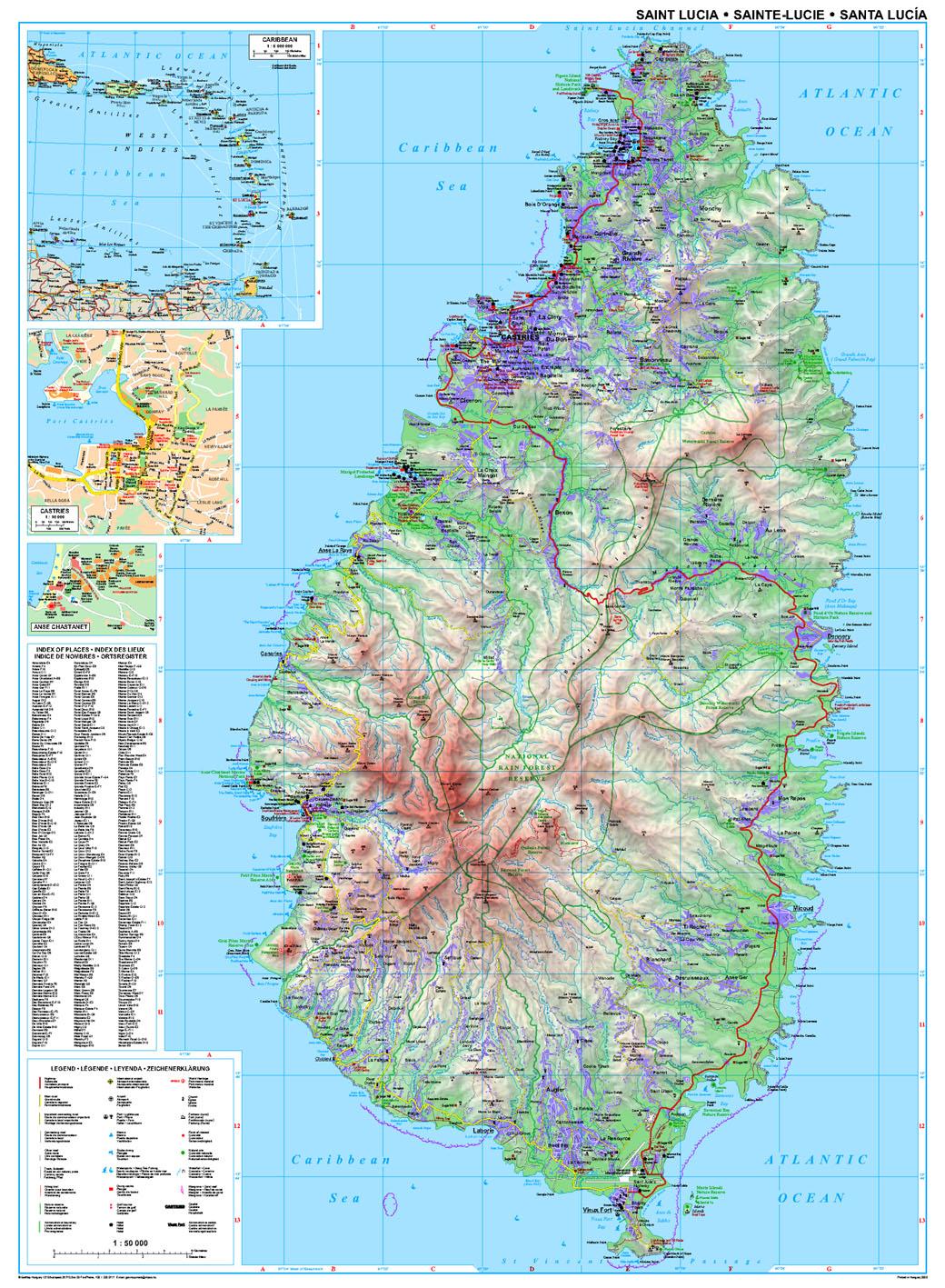 St Lucia: áttekintõ térkép