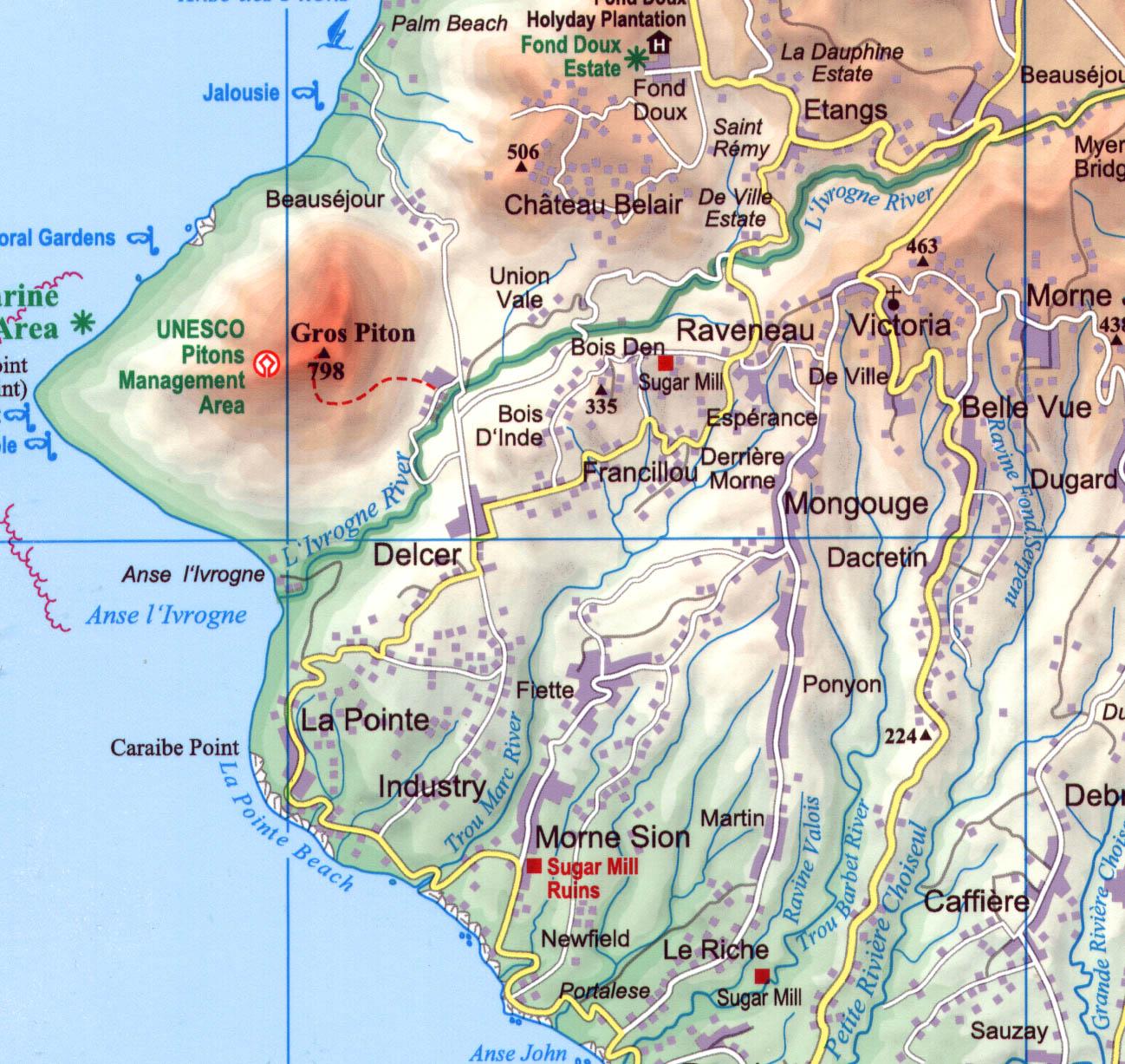 St Lucia: térkép minta