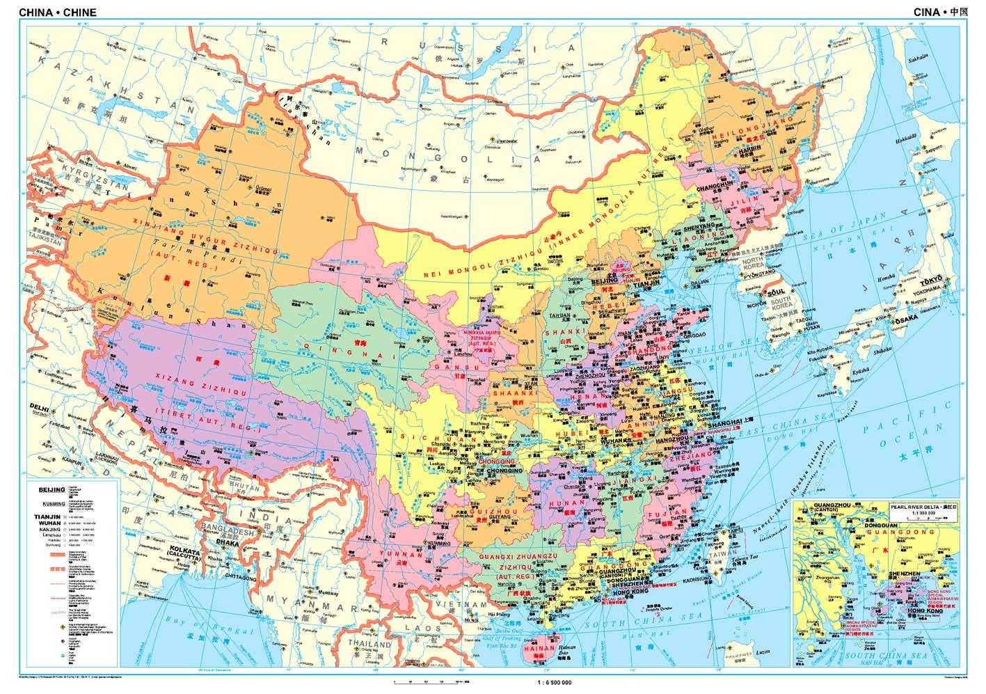 Kína közigazgatási térkép által lefedett terület