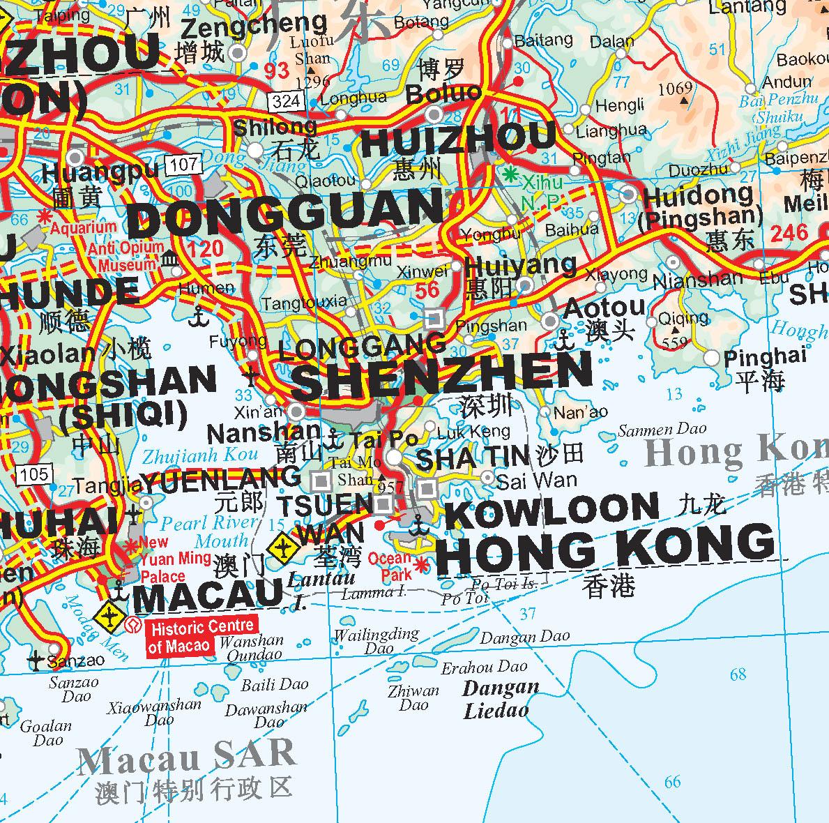 Kína déli része: térkép minta
