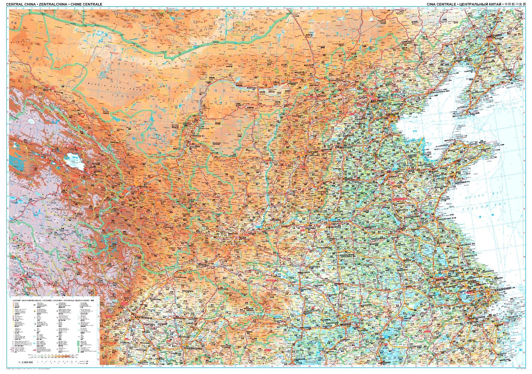 Kína középső része: áttekintõ térkép