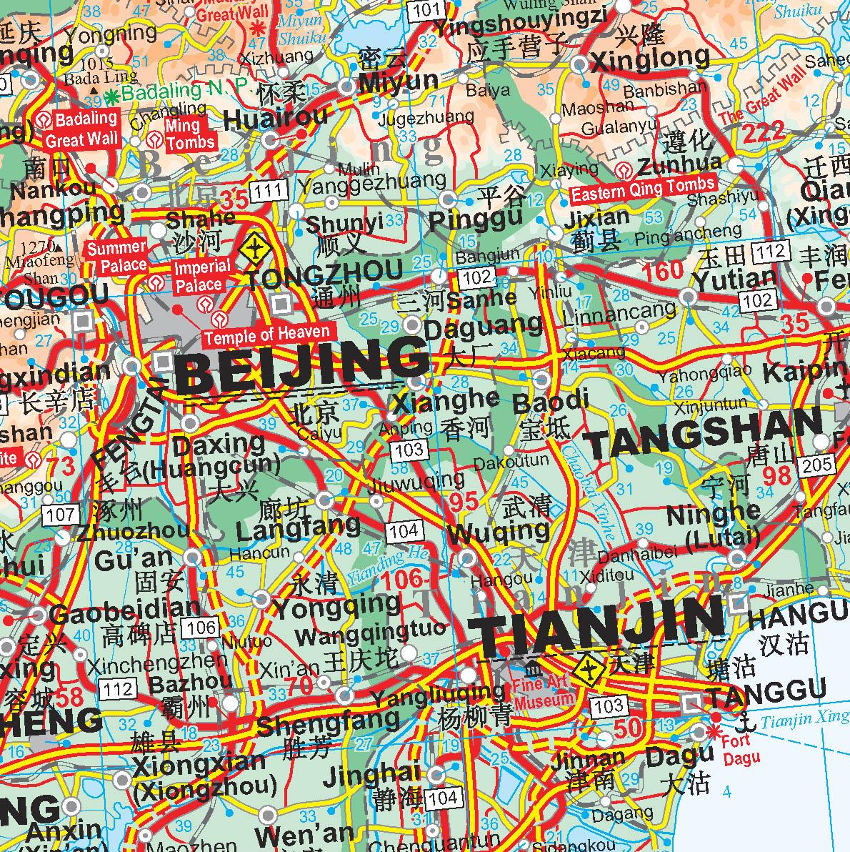 Kína középső része: térkép minta