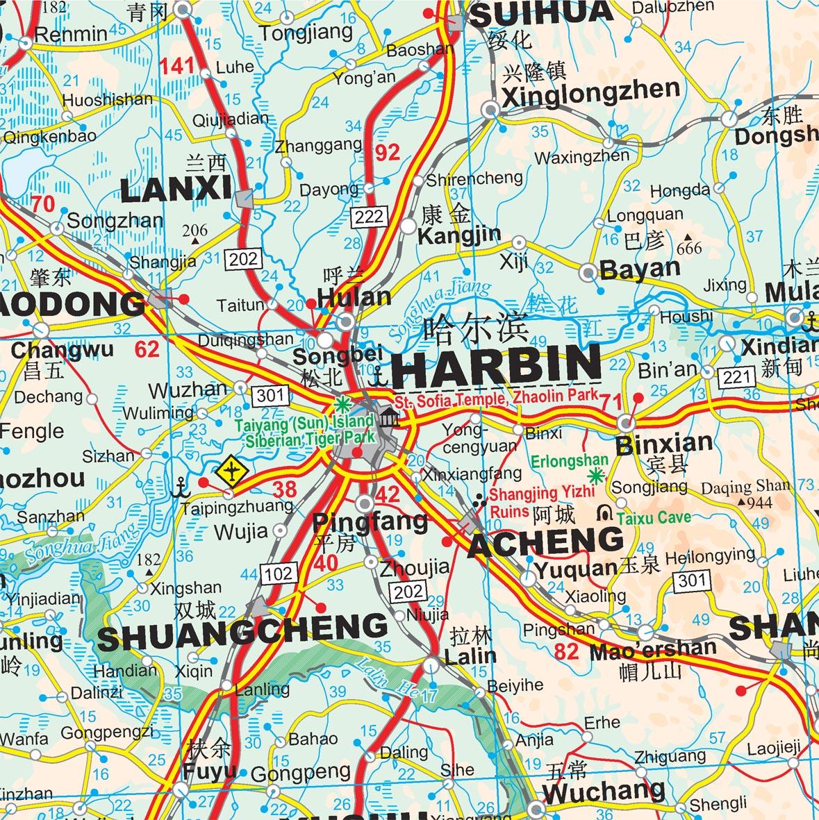 Kína észak-keleti része: térkép minta