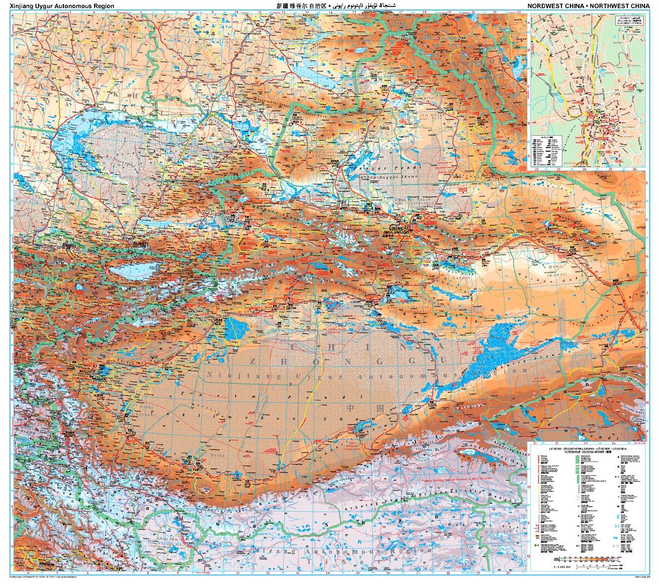 Kína észak-nyugati része: áttekintõ térkép