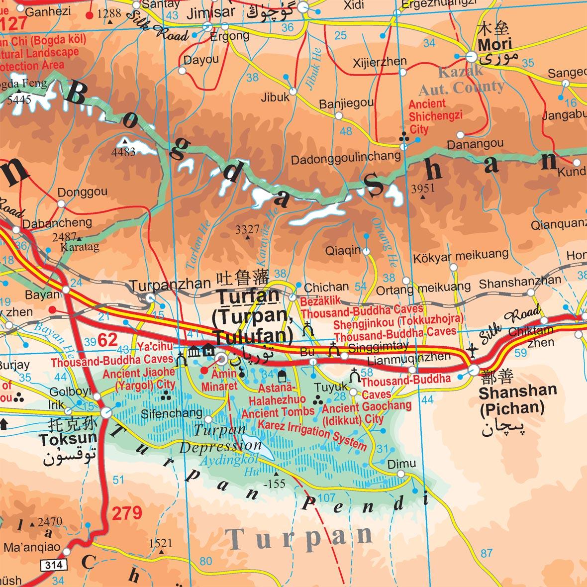 Kína észak-nyugati része: térkép minta