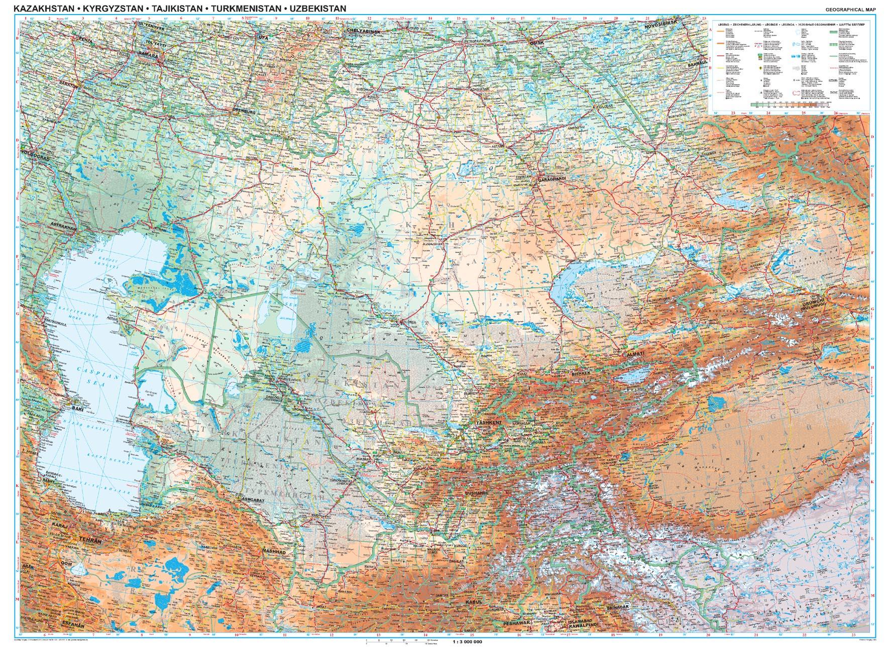Kazahsztán áttekintõ térkép
