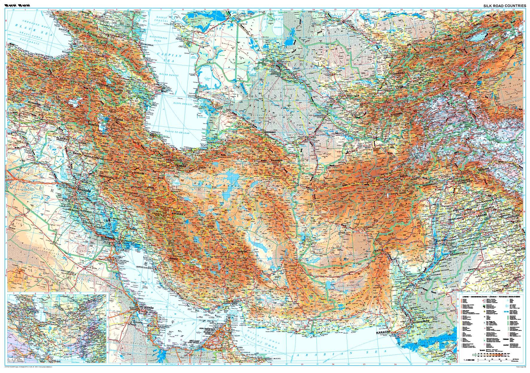 A Selyemút országainak áttekintõ térképe