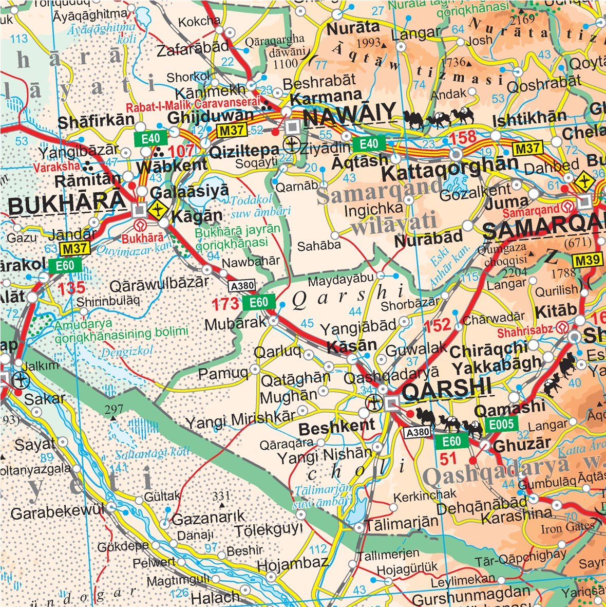 A Selyemút országai: térkép minta