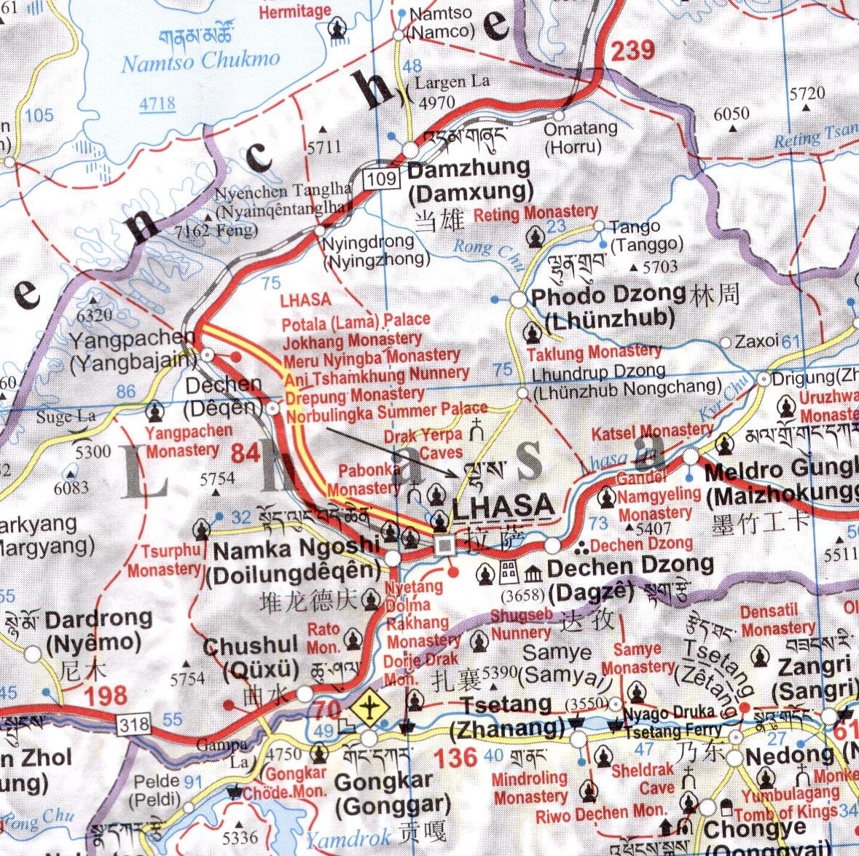Tibet: térkép minta