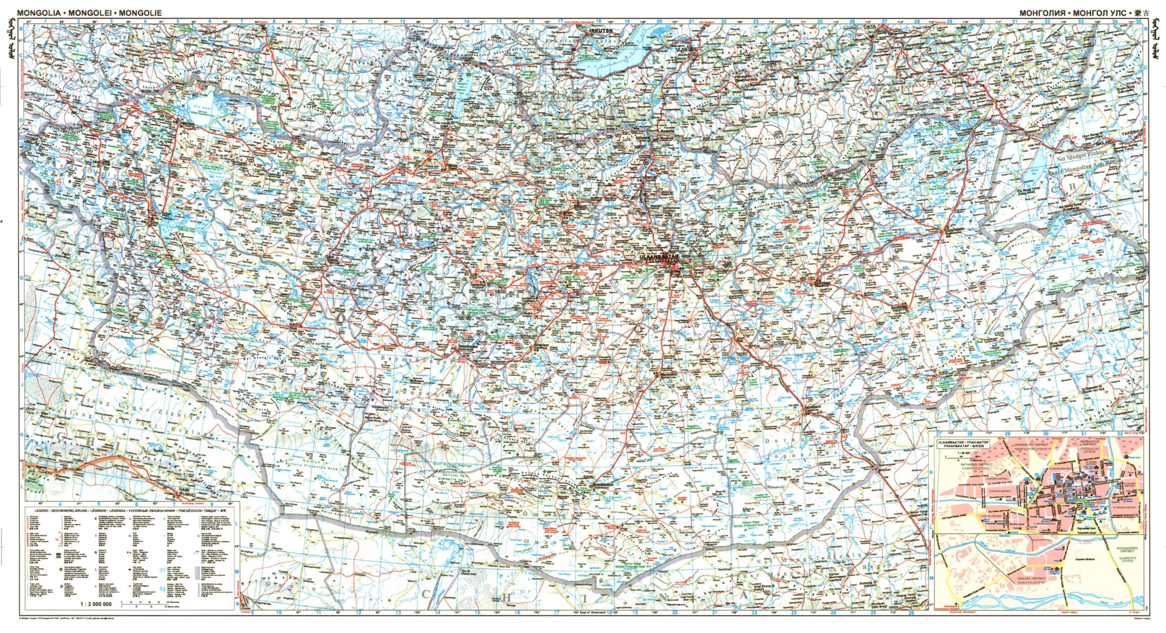 Mongólia: áttekintõ térkép