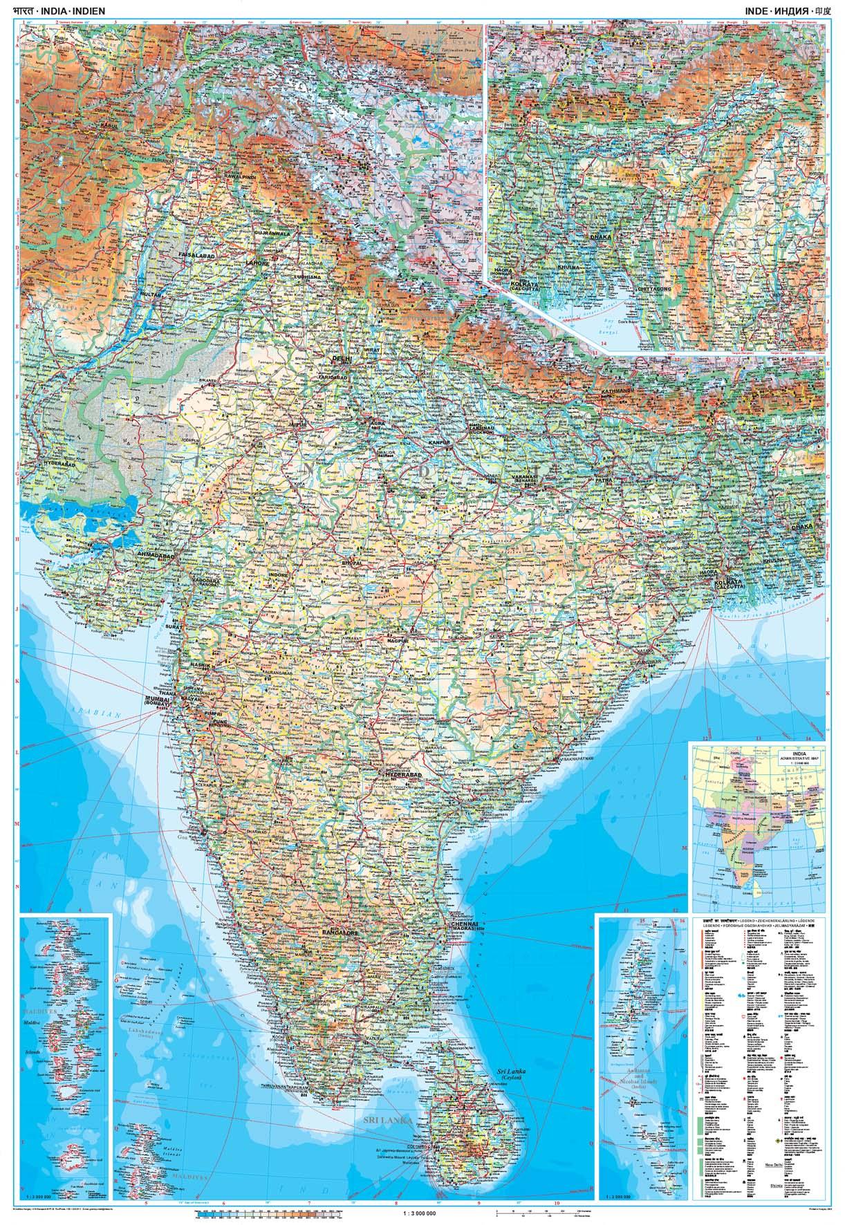 India: áttekintõ térkép
