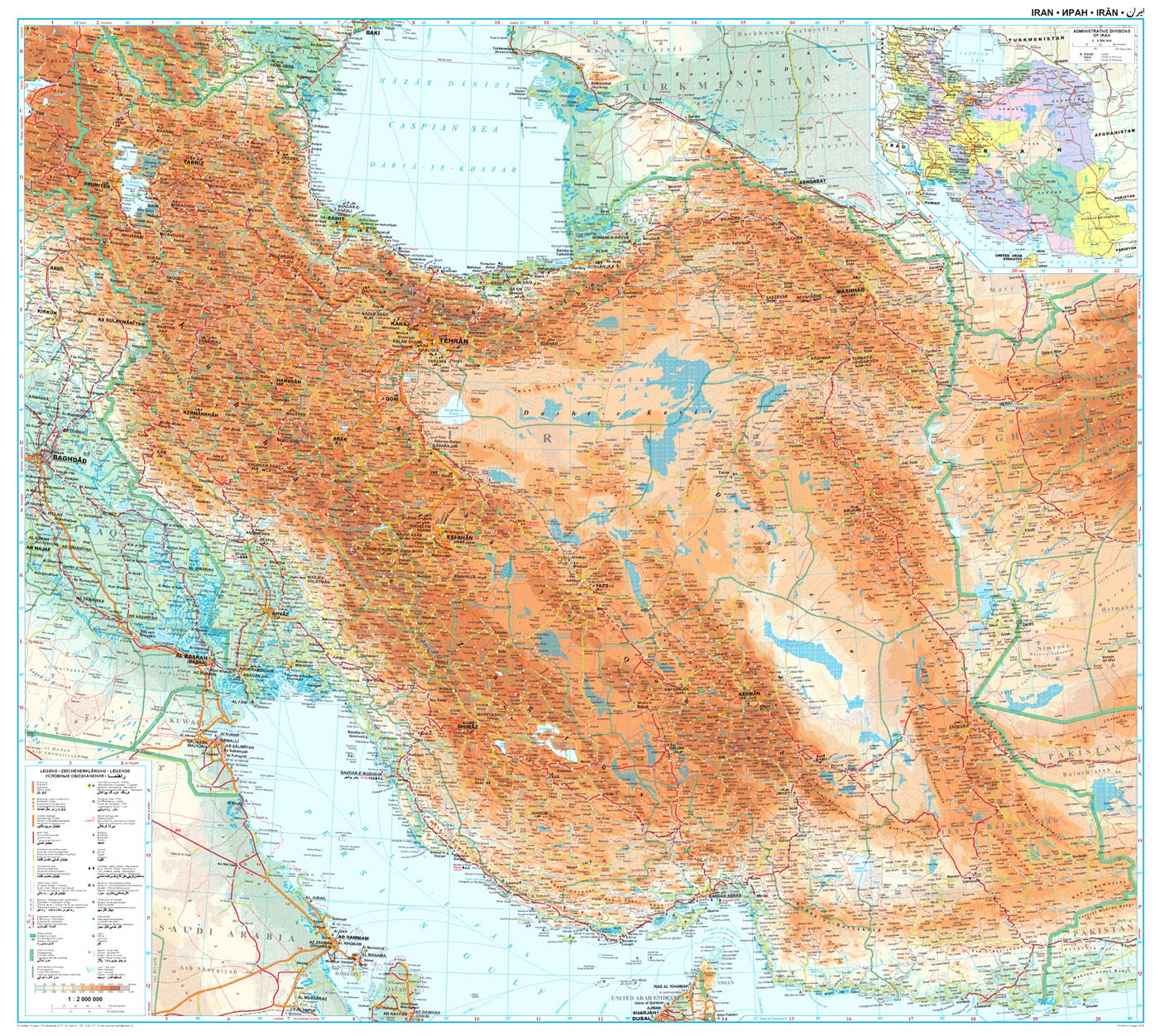 Irán: áttekintõ térkép