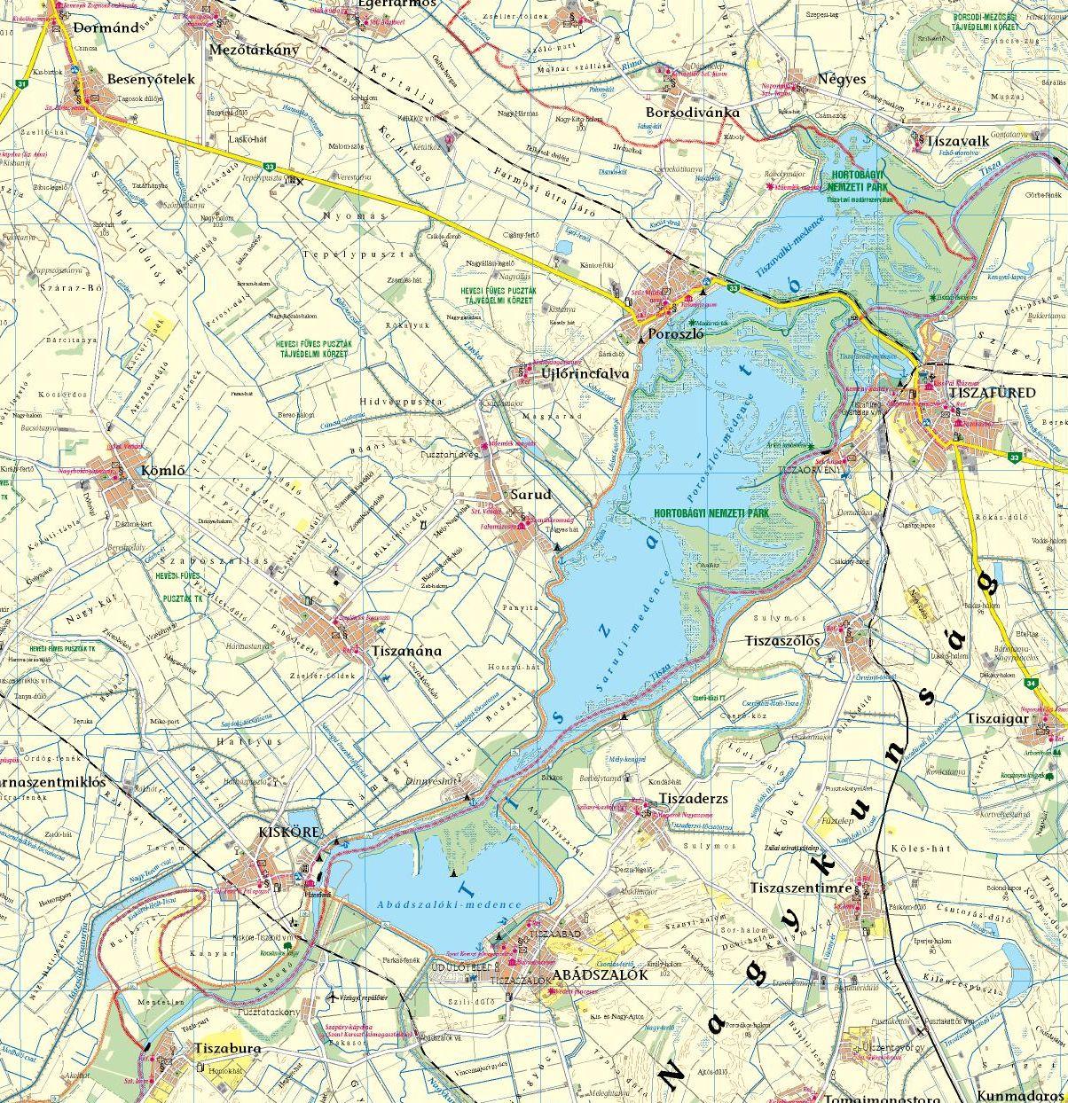 Heves megye: Tisza-tó térkép minta 1:100e