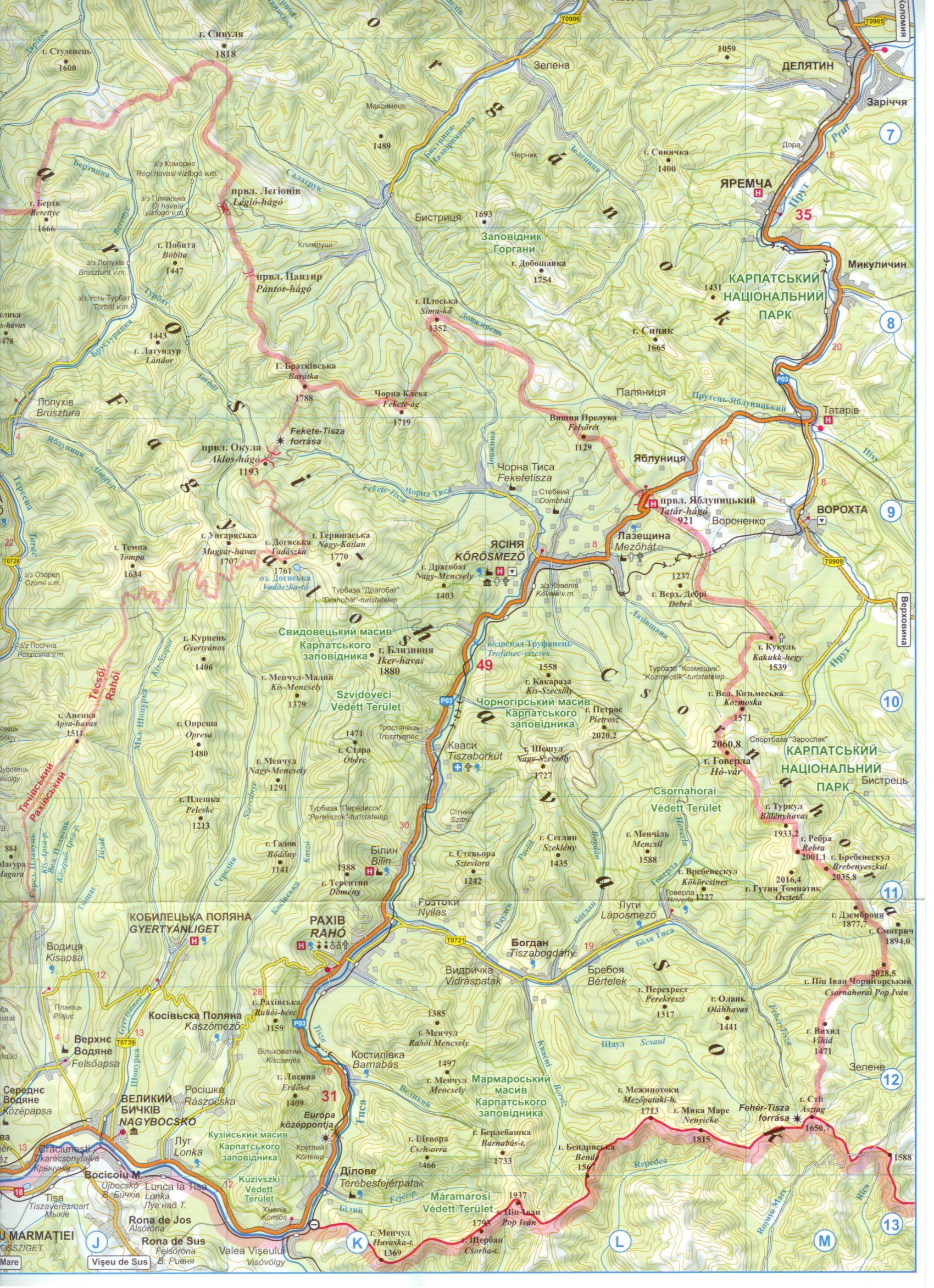 Kárpátalja térkép 1:250.000-es térkéminta