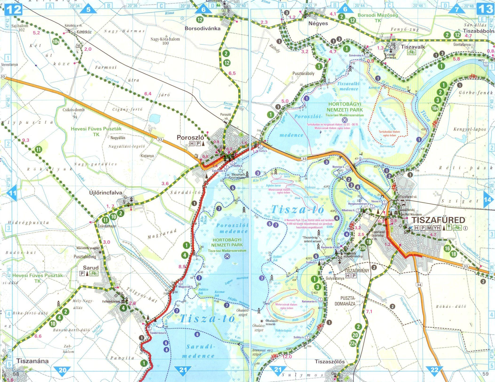 Tisza-tó, Hortobágy biciklis atlasz térkép minta