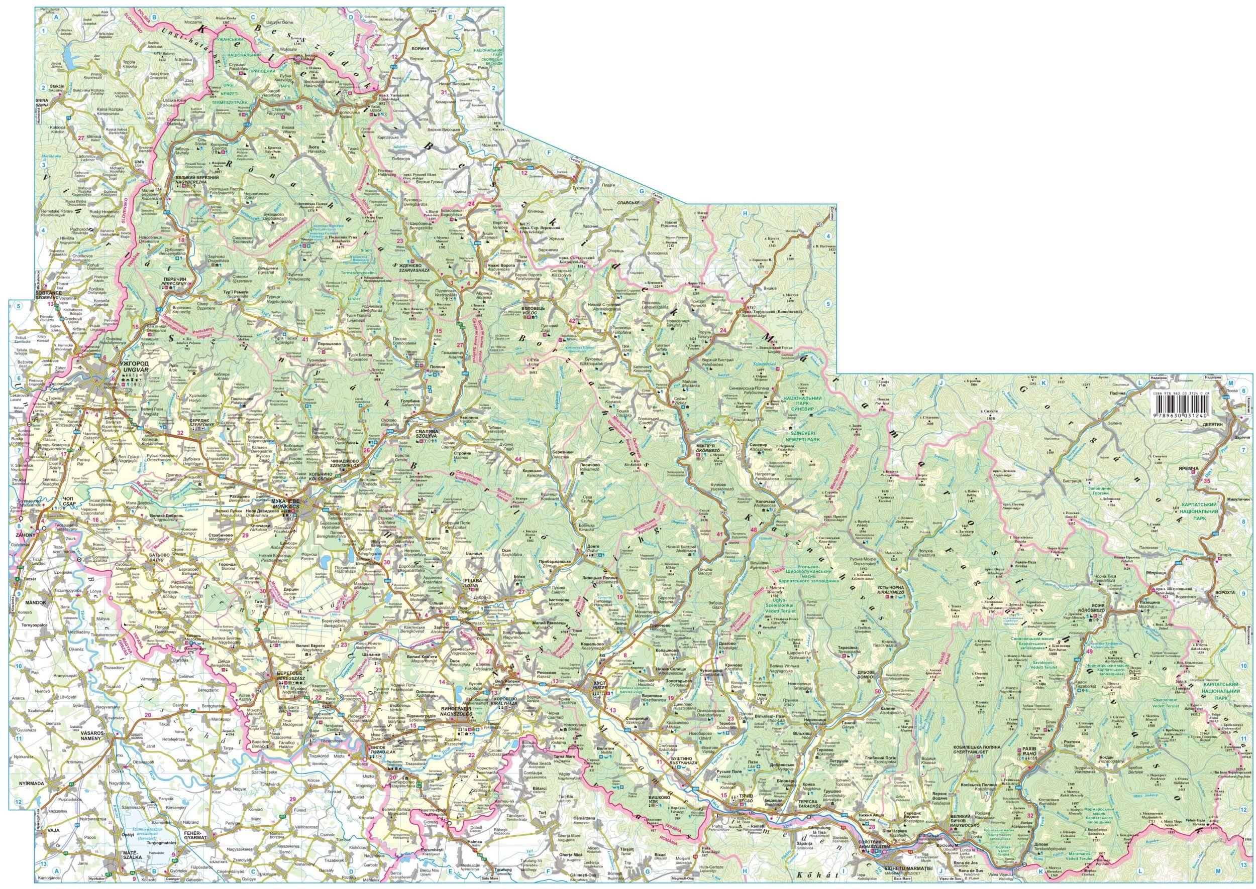 Kárpátalja térkép által lefedett terület