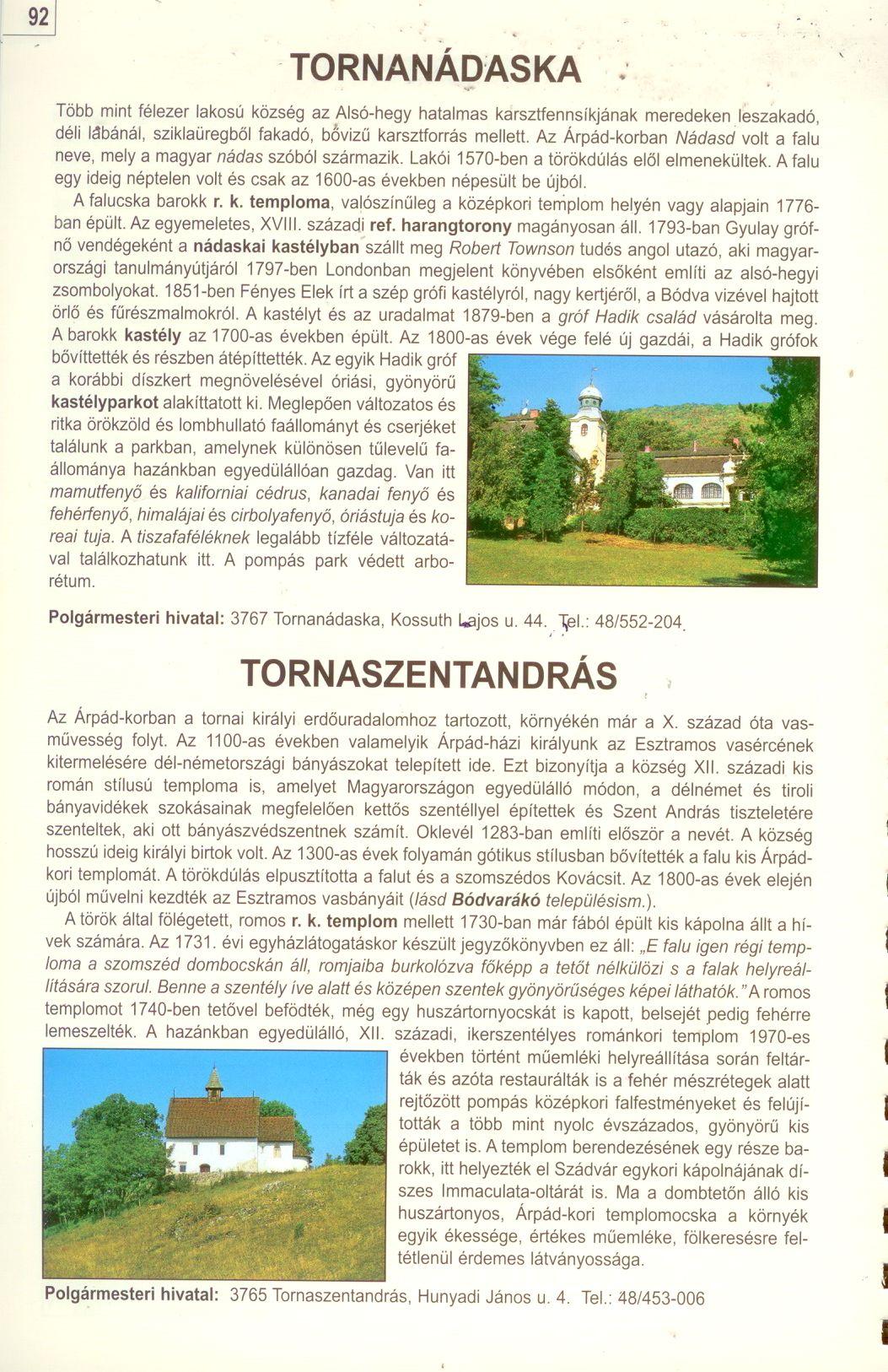 Gömör-Tornai-karszt, Cserehát atlasz szöveges mintaoldal