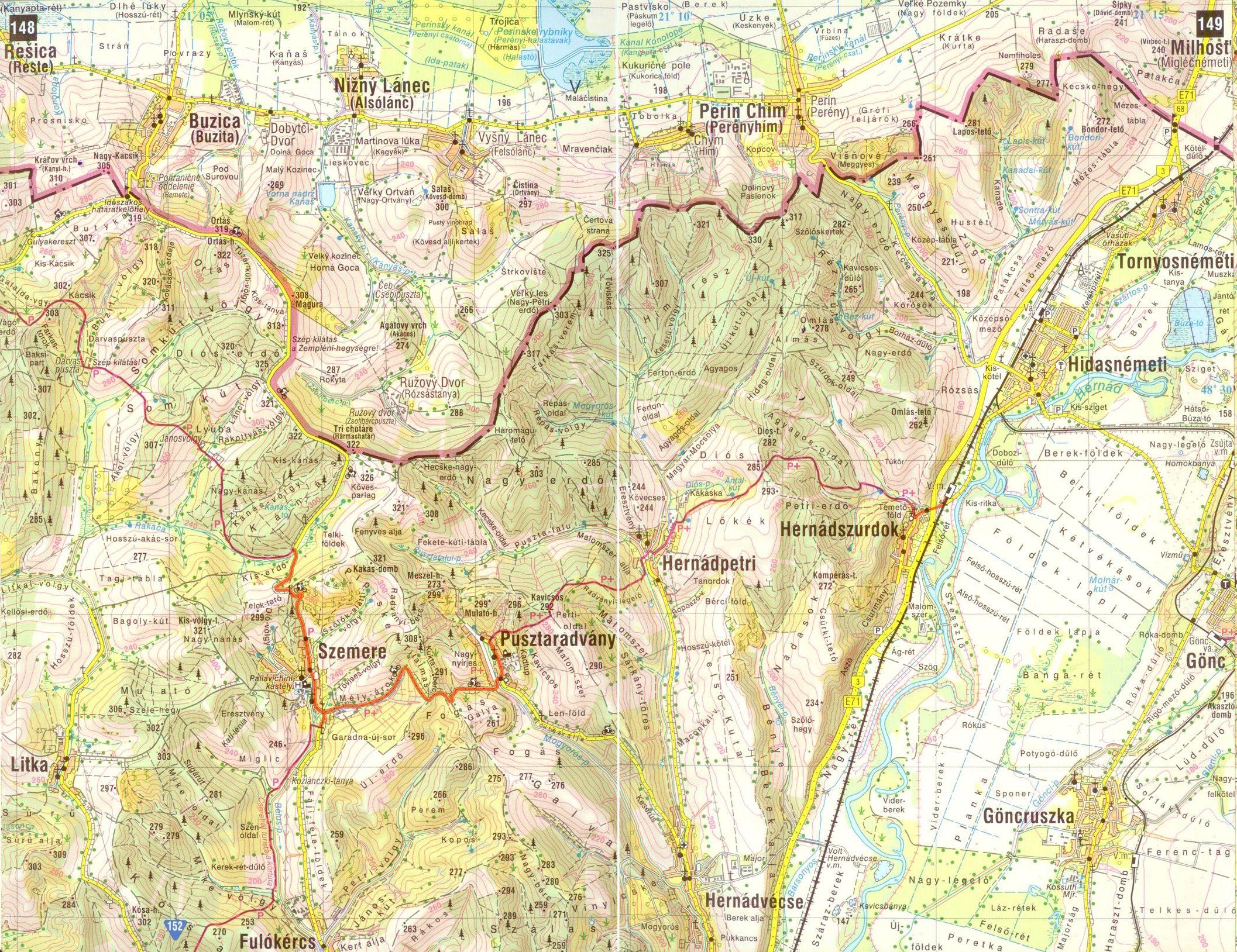 Gömör-Tornai-karszt, Cserehát atlasz 1:60.000-es térképminta