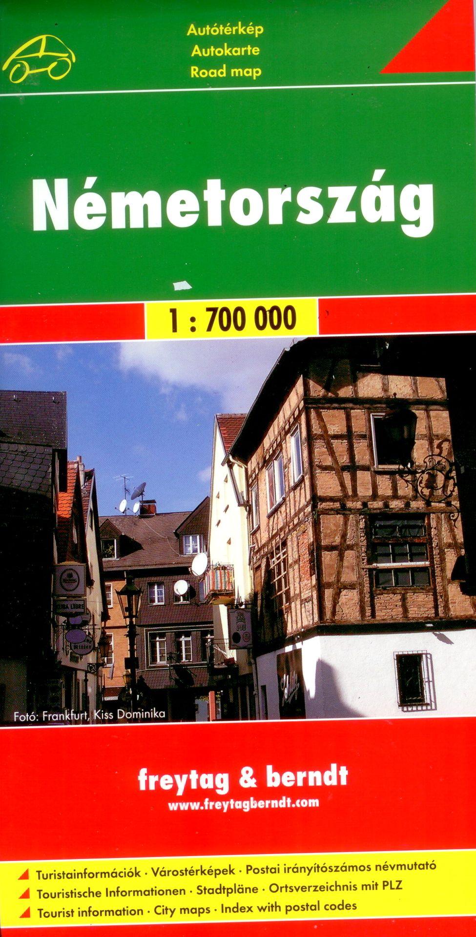 Autótérkép várostérképekkel, turista infókkal, névmutatóval