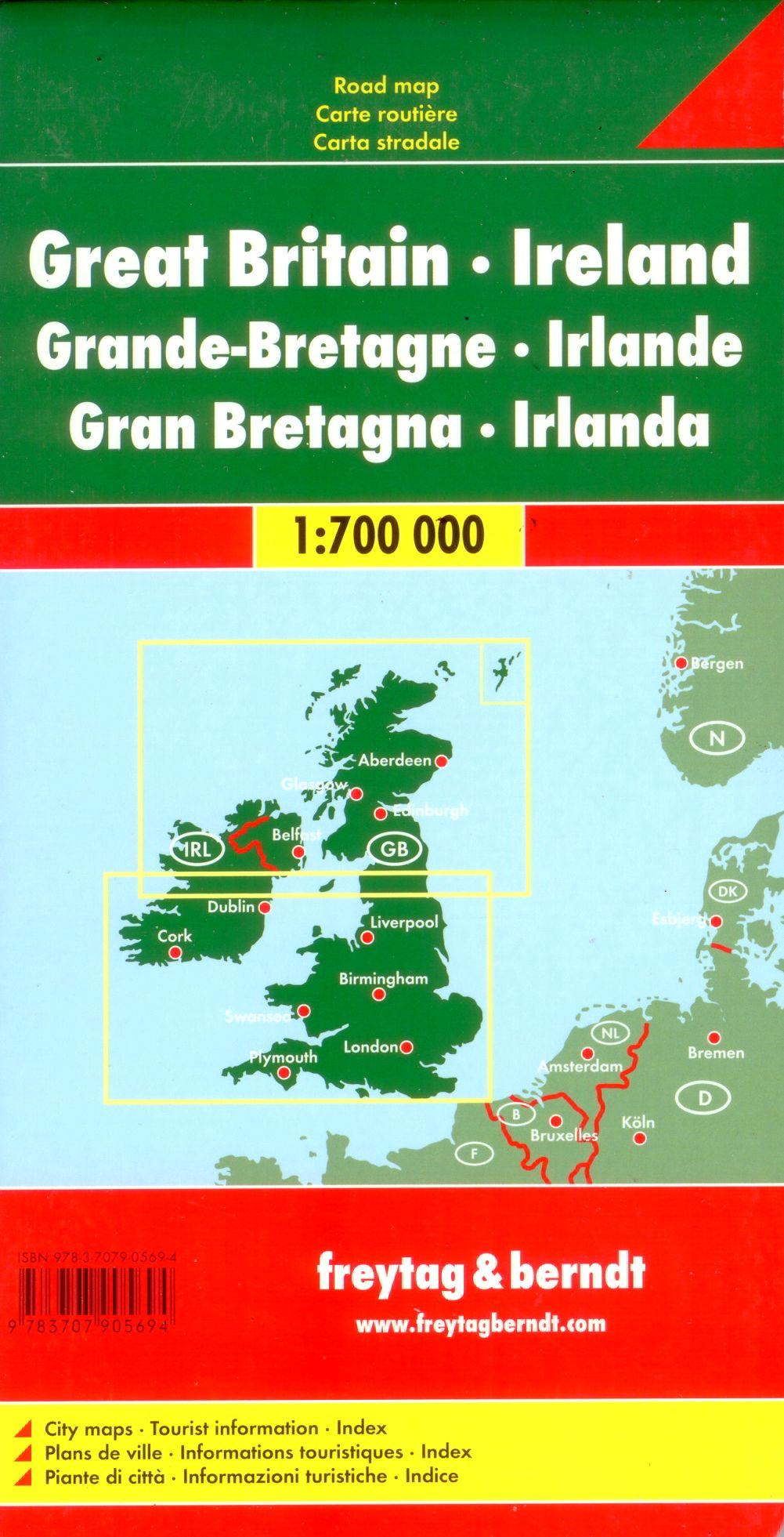 A Nagy-Britannia és Írország autótérkép által lefedett terület