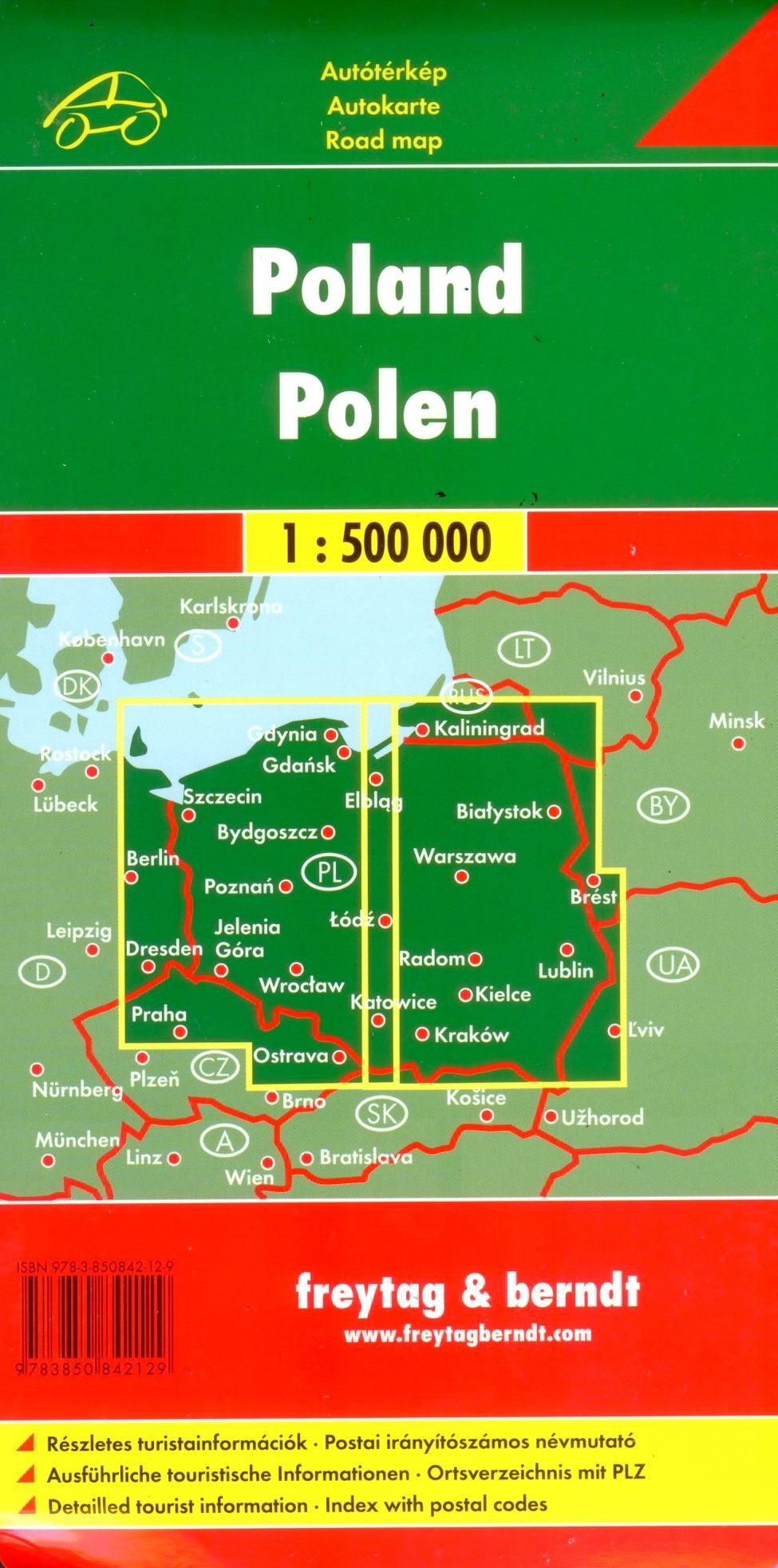 A Lengyelország autótérkép által lefedett terület
