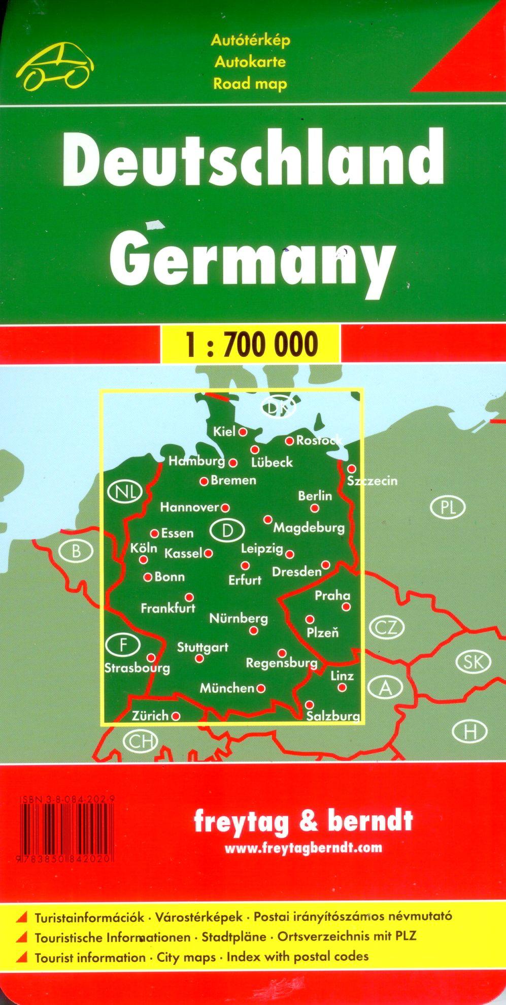 A Németország autótérkép által lefedett terület