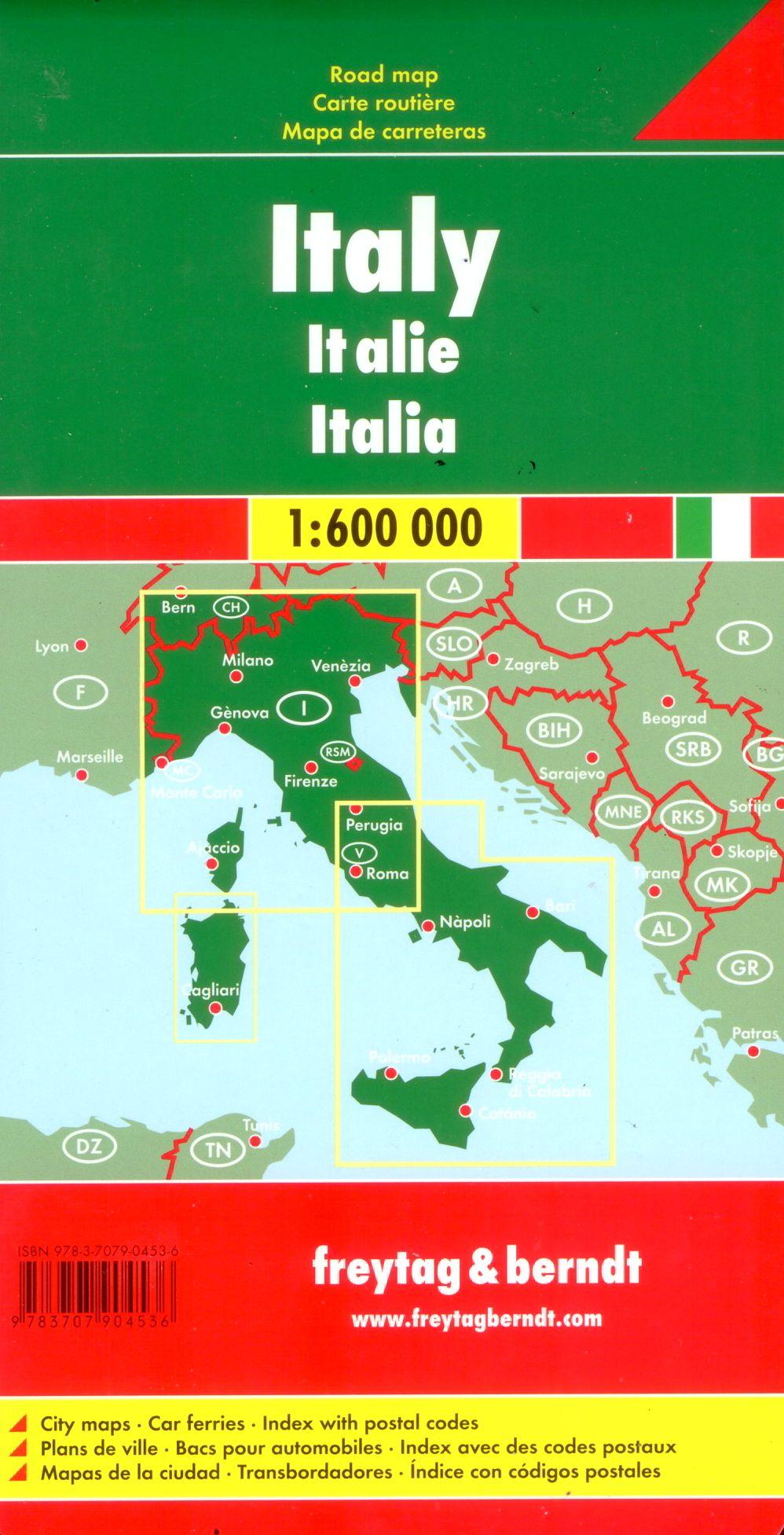 Az Olaszország autótérkép által lefedett terület