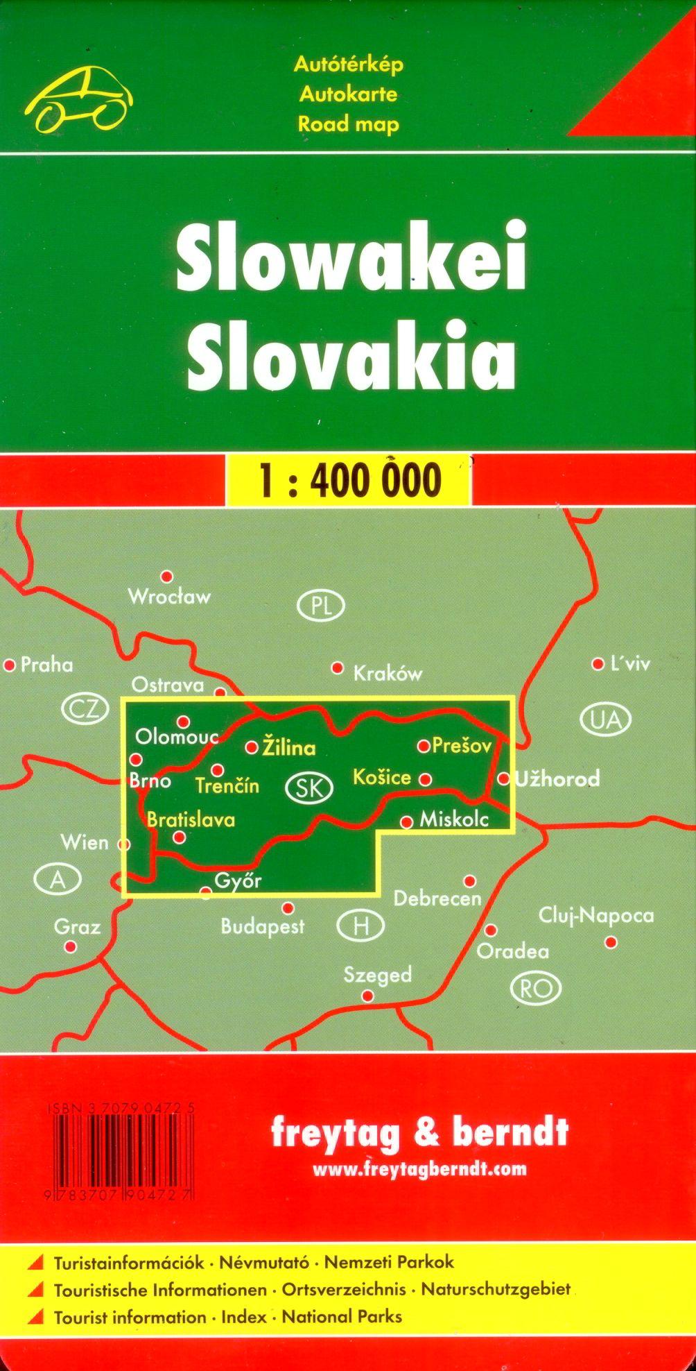 A Szlovákia autótérkép által lefedett terület