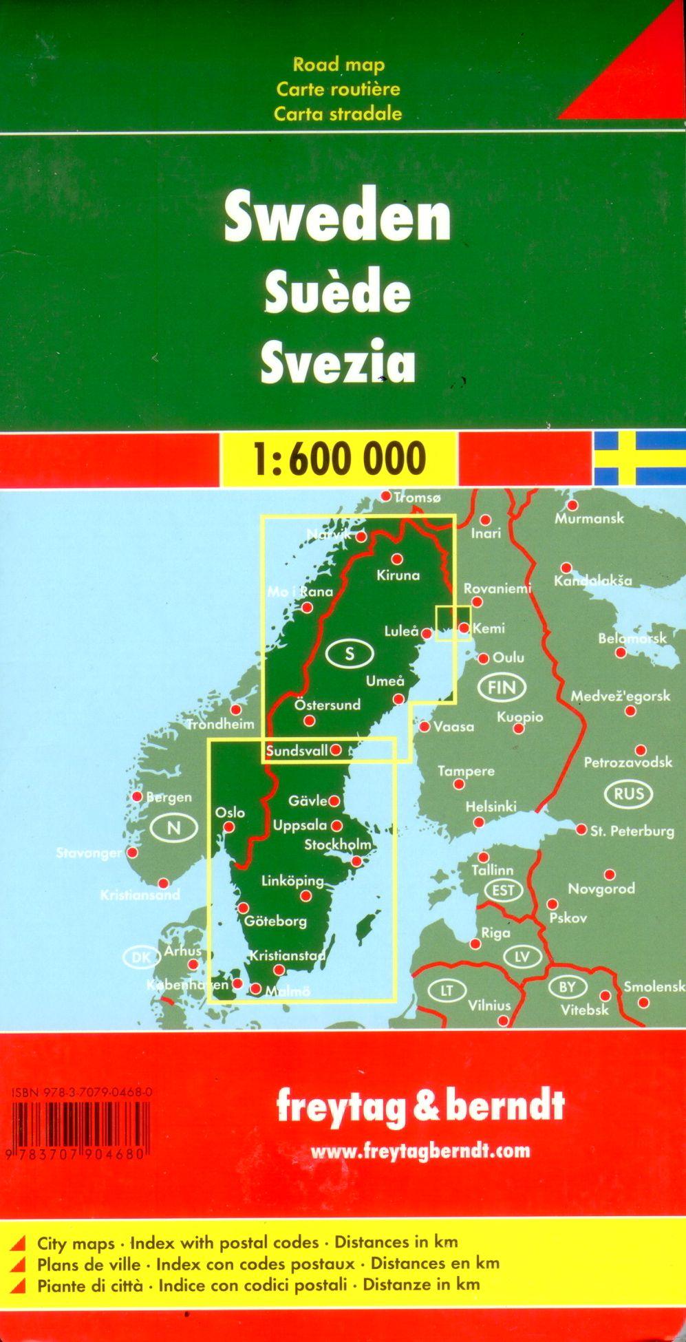 A Svédország térkép által lefedett terület